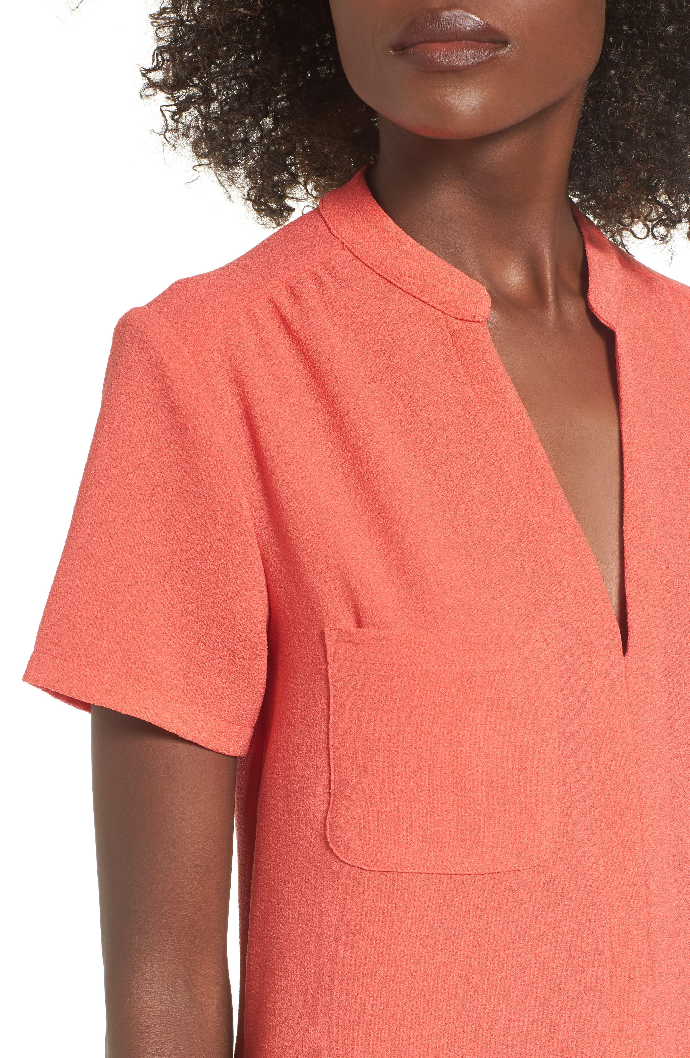 Hailey Crepe Dress,                             Alternate thumbnail 4, color,                             Hot Coral