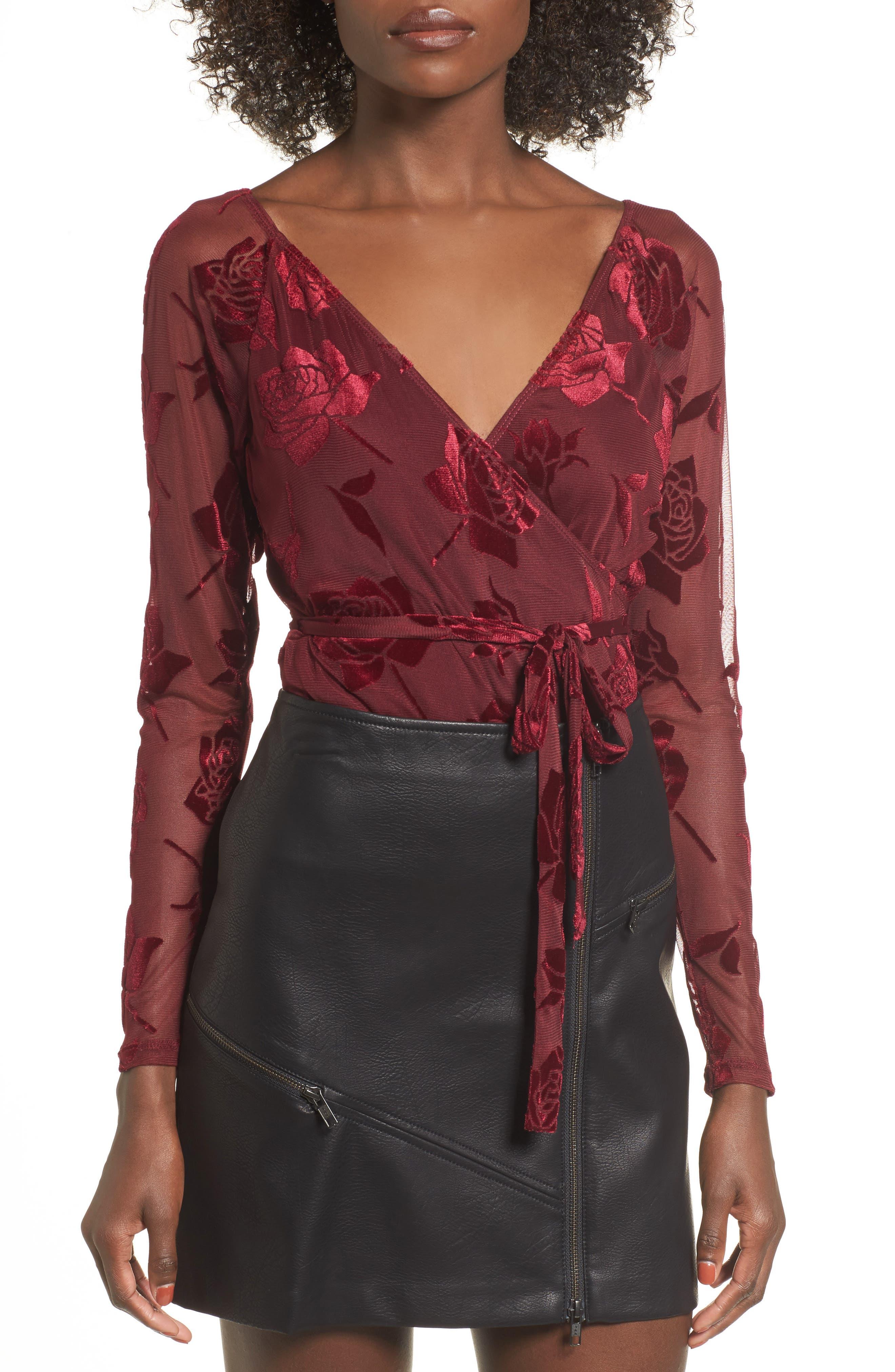 Burnout Velvet Bodysuit,                         Main,                         color, Red Tannin