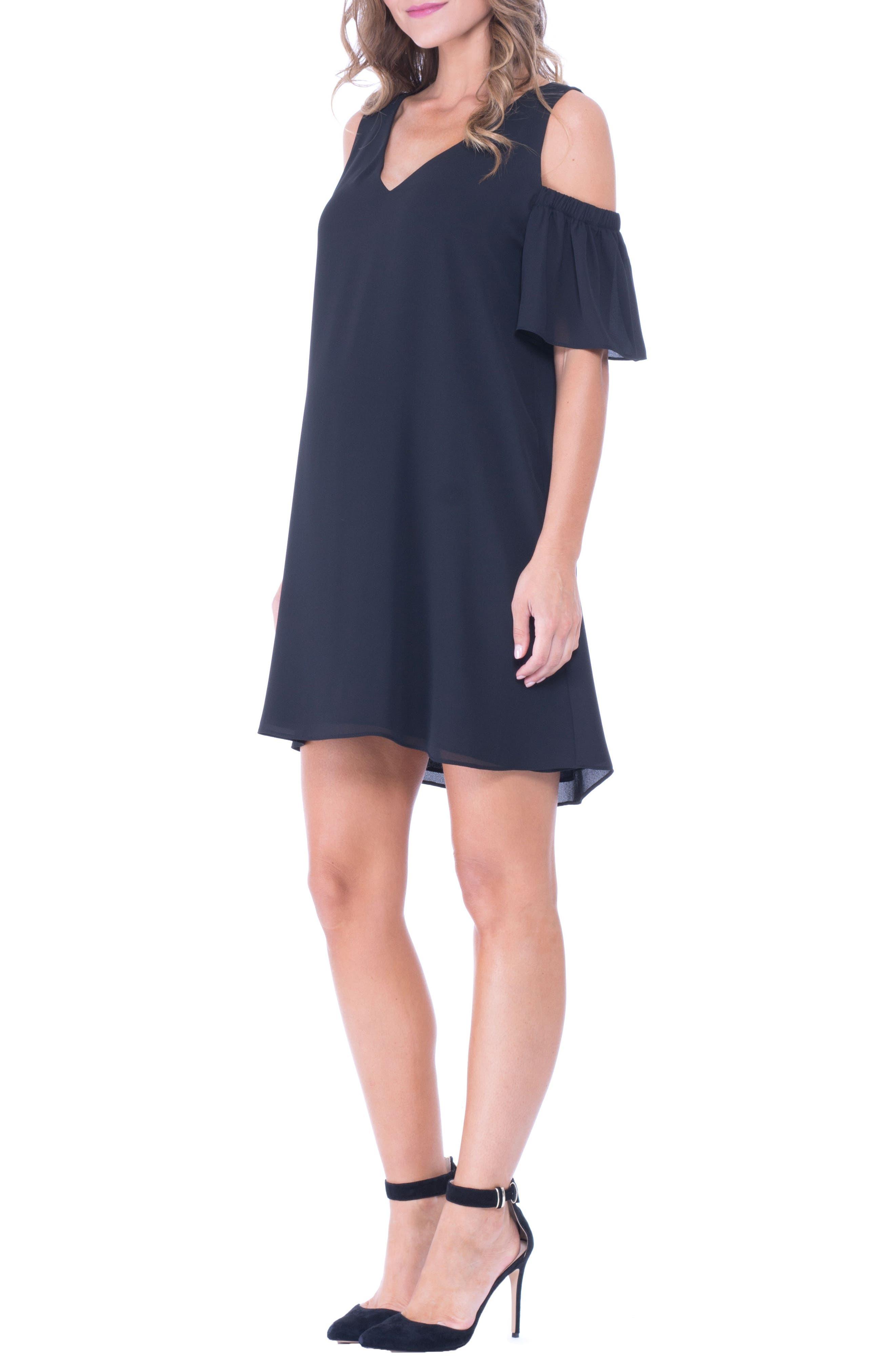 Juliette Cold Shoulder Maternity Dress,                             Alternate thumbnail 3, color,                             Black