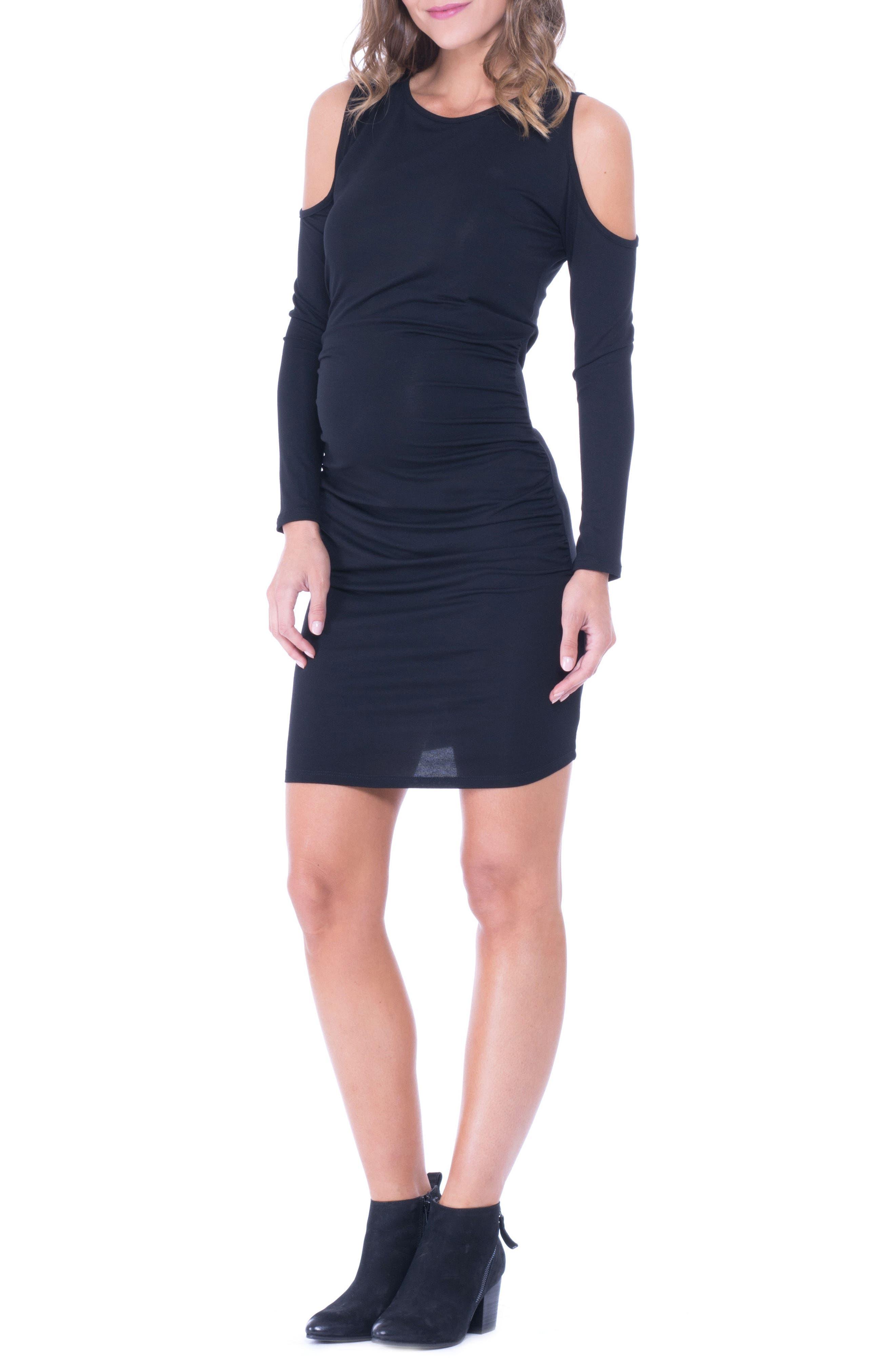 Cold Shoulder Ruched Sheath Dress,                             Alternate thumbnail 3, color,                             Black
