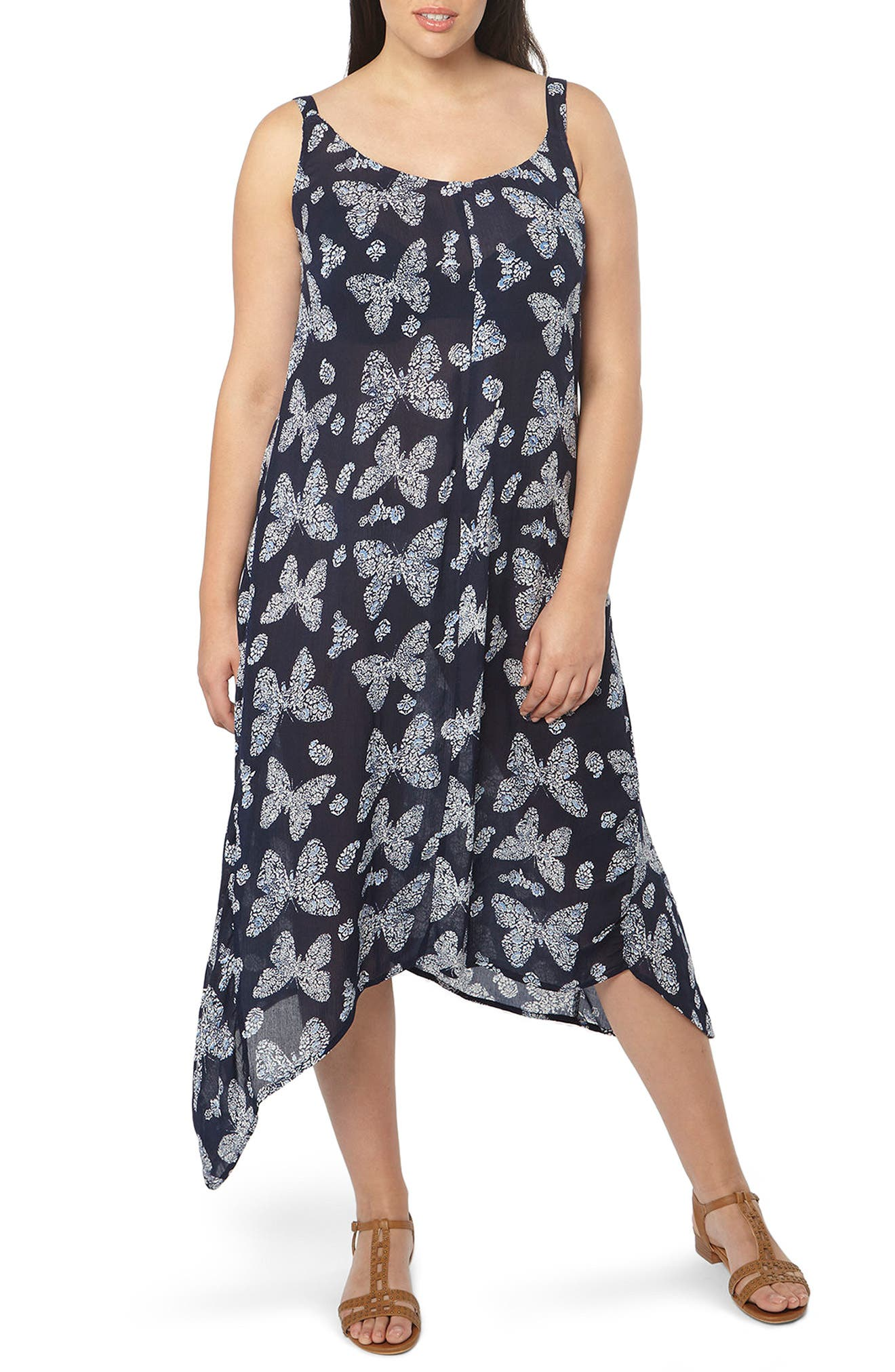 Alternate Image 1 Selected - Evans Butterfly Print Handkerchief Hem Maxi Dress (Plus Size)