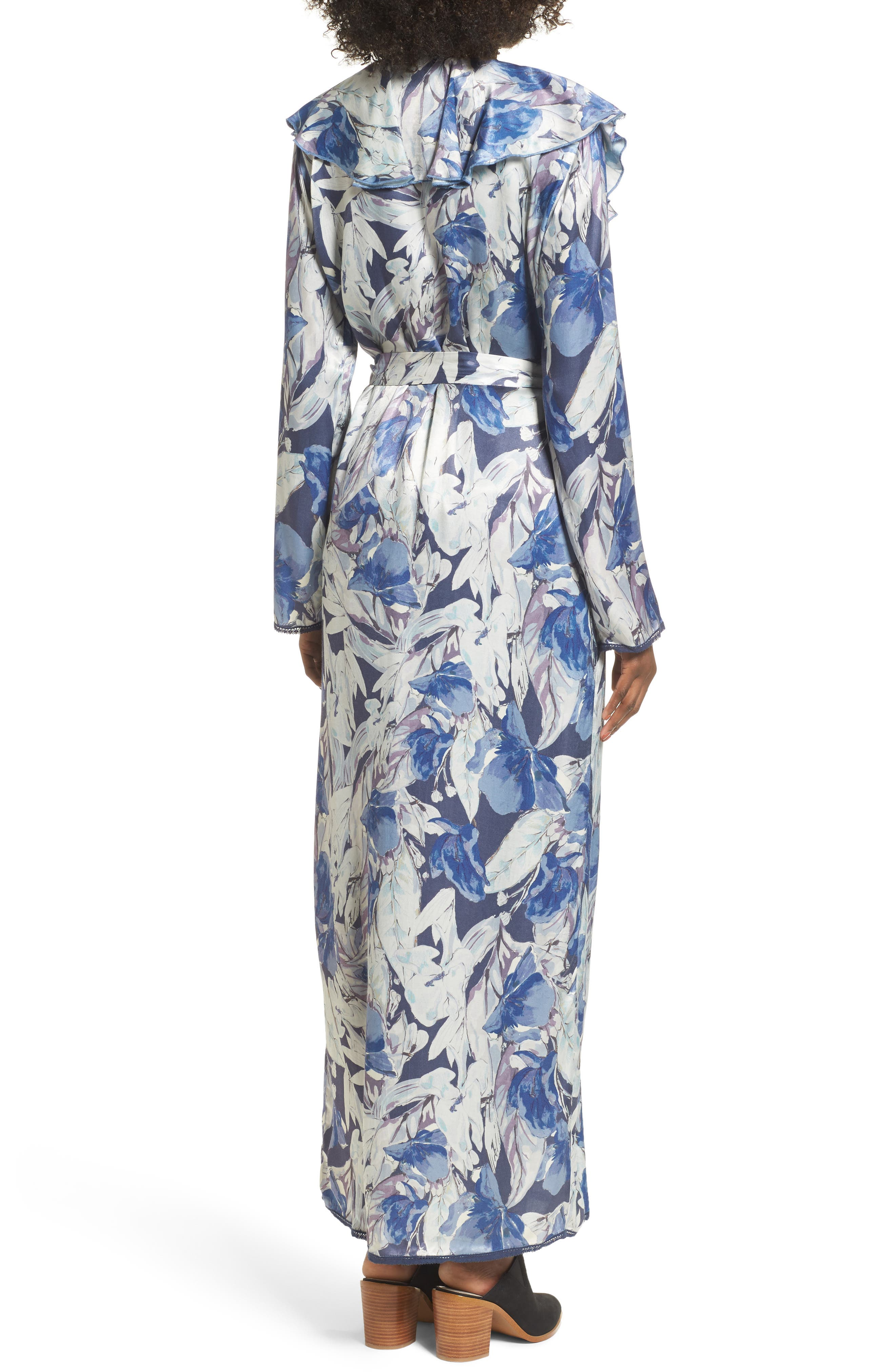 Drucilla Floral Print Duster,                             Alternate thumbnail 2, color,                             Midnight Floral