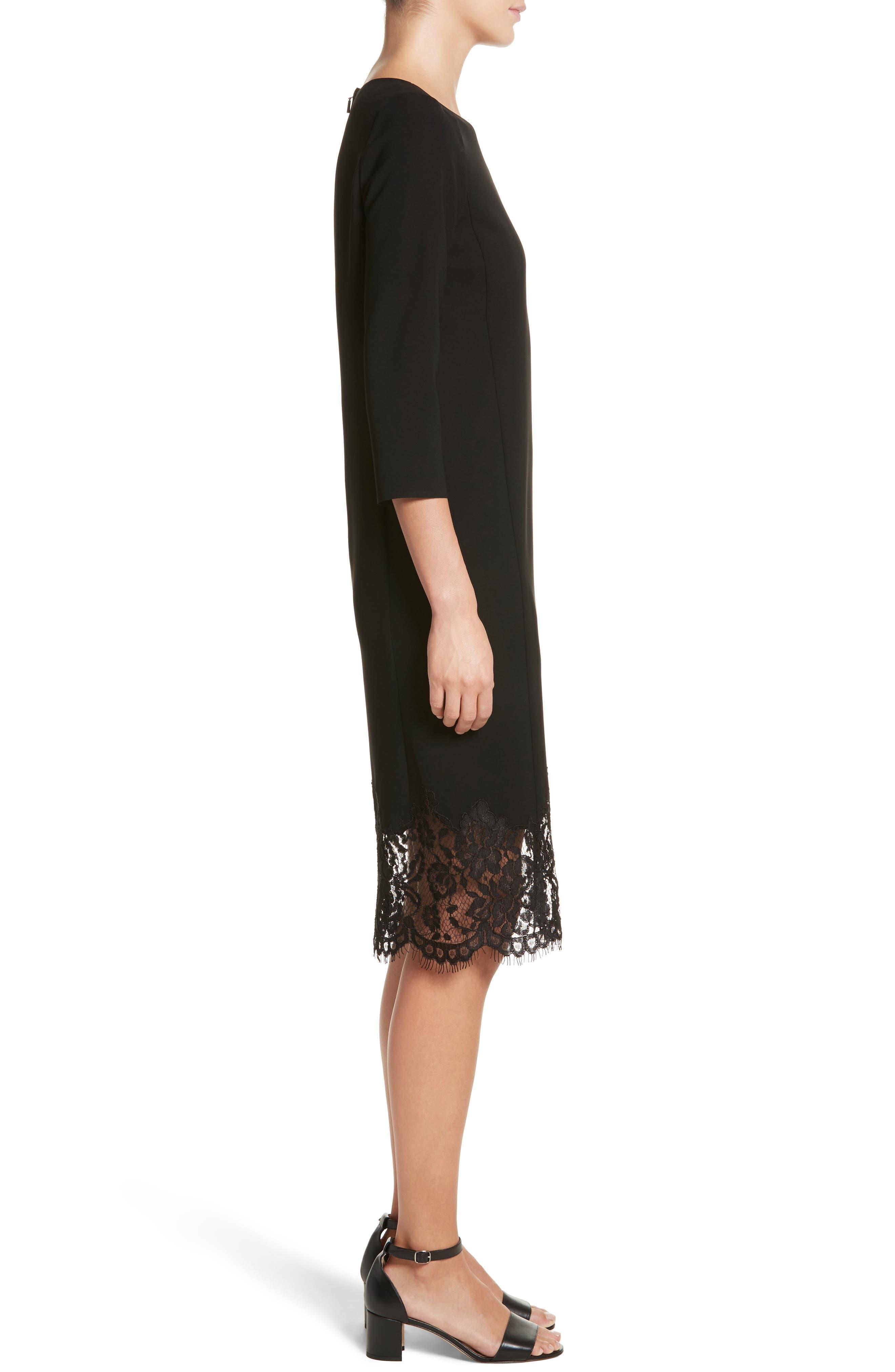 Mya Lace Hem Dress,                             Alternate thumbnail 4, color,                             Black