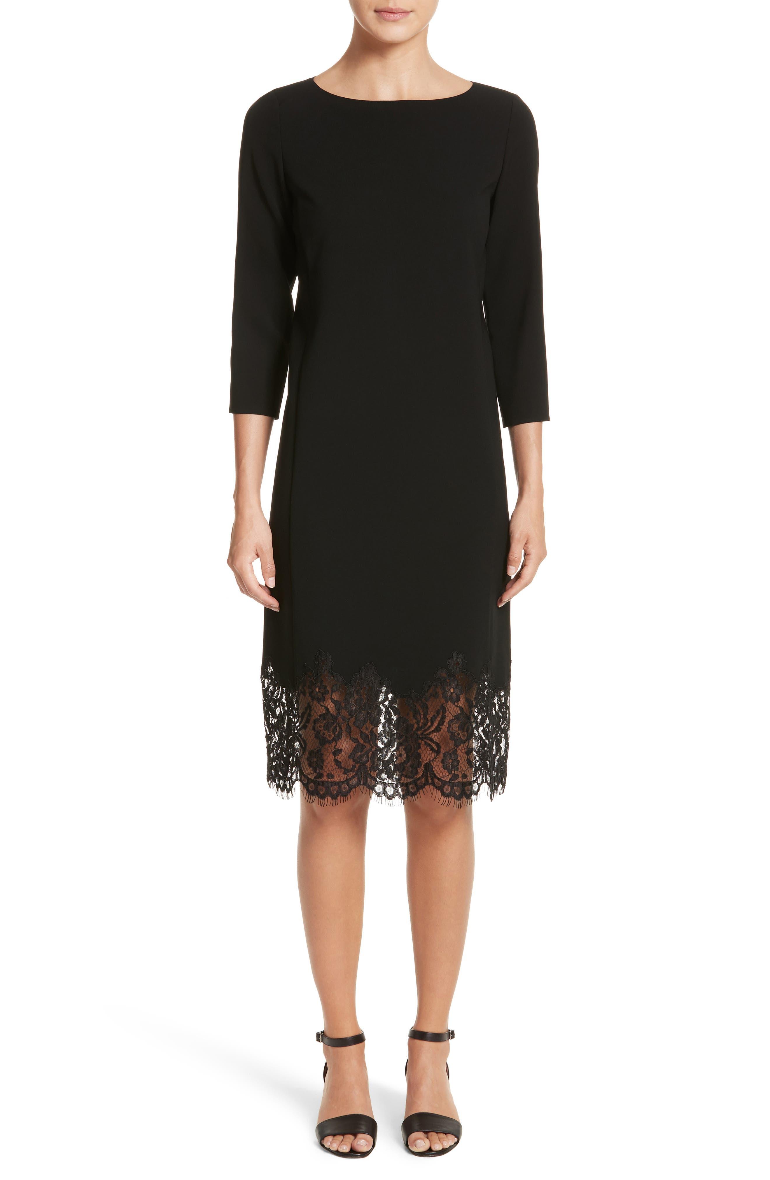 Mya Lace Hem Dress,                             Main thumbnail 1, color,                             Black