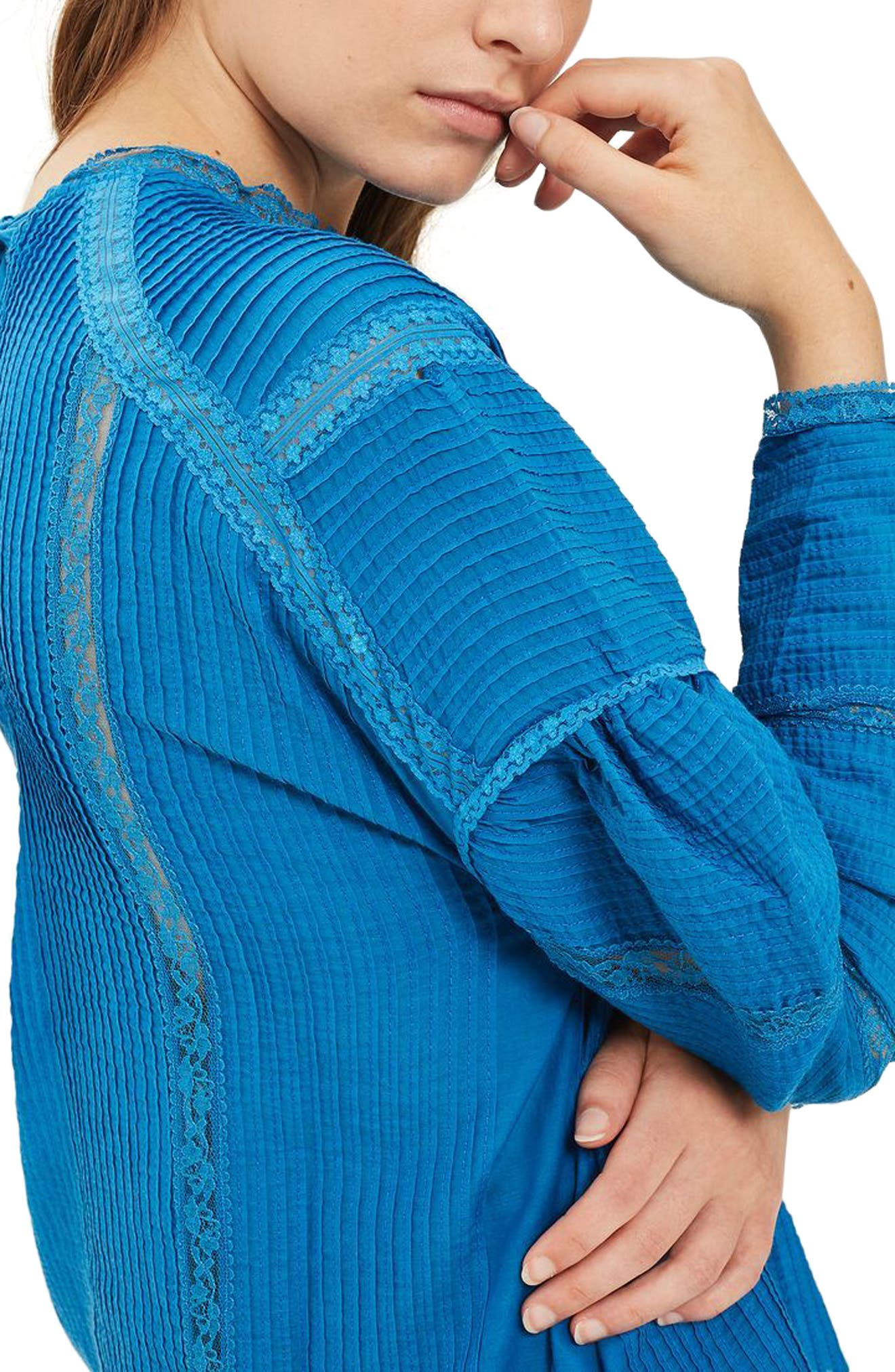 Statement Sleeve Pintuck Blouse,                             Alternate thumbnail 2, color,                             Blue