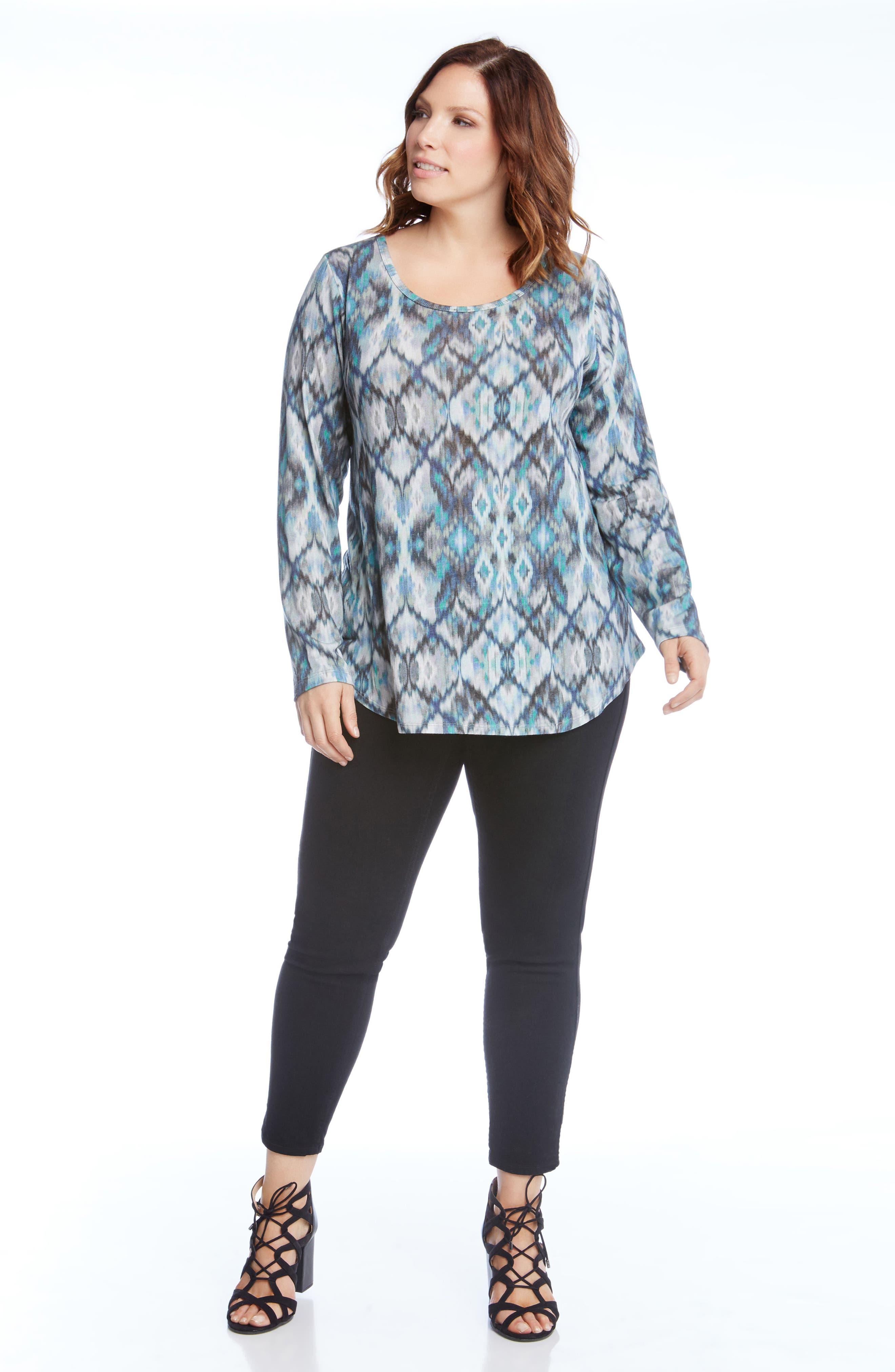 Alternate Image 2  - Karen Kane Print Shirttail Top (Plus Size)