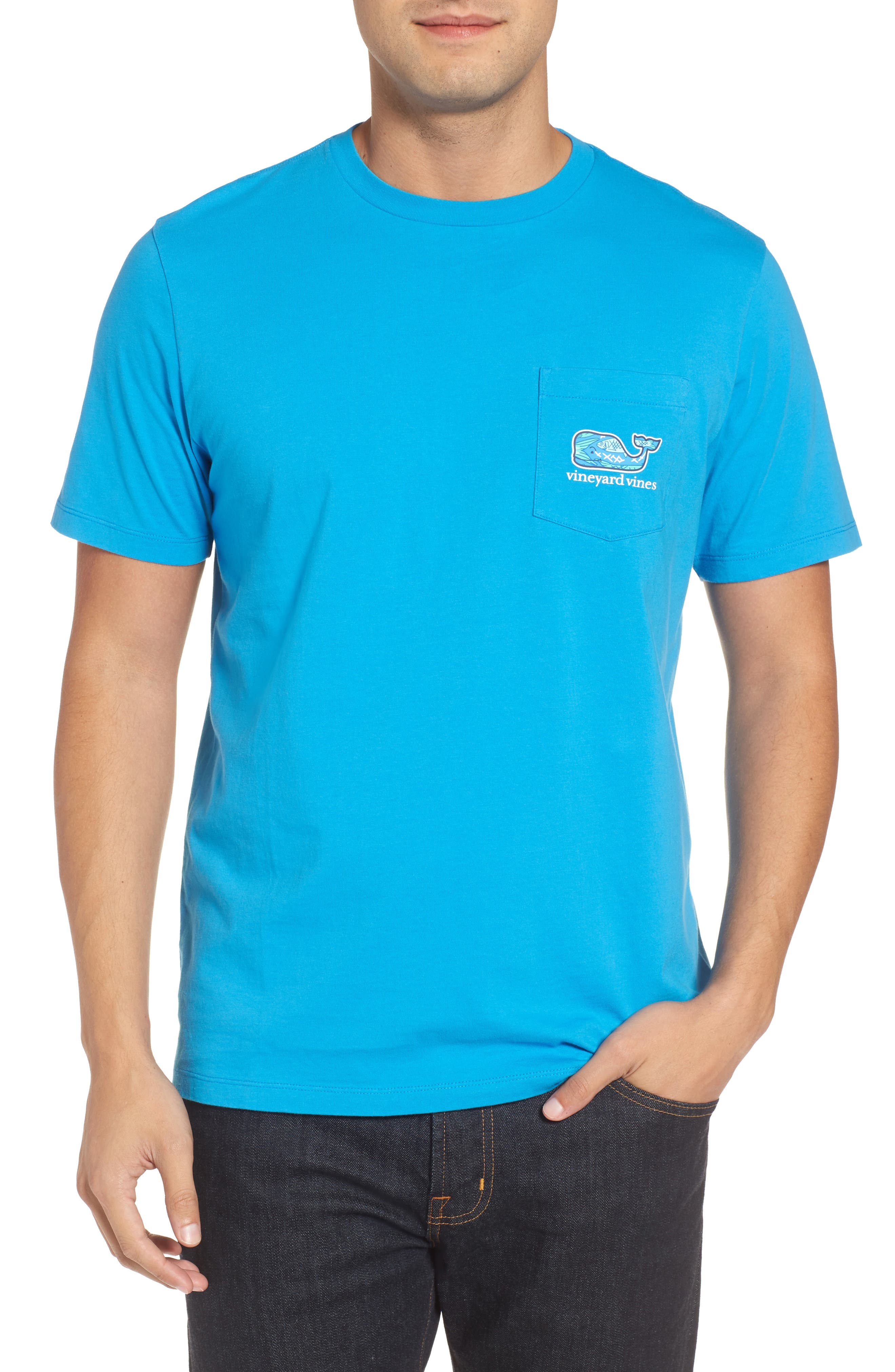 Fish Scale Whale Fill Pocket T-Shirt,                             Alternate thumbnail 2, color,                             Cay Blue