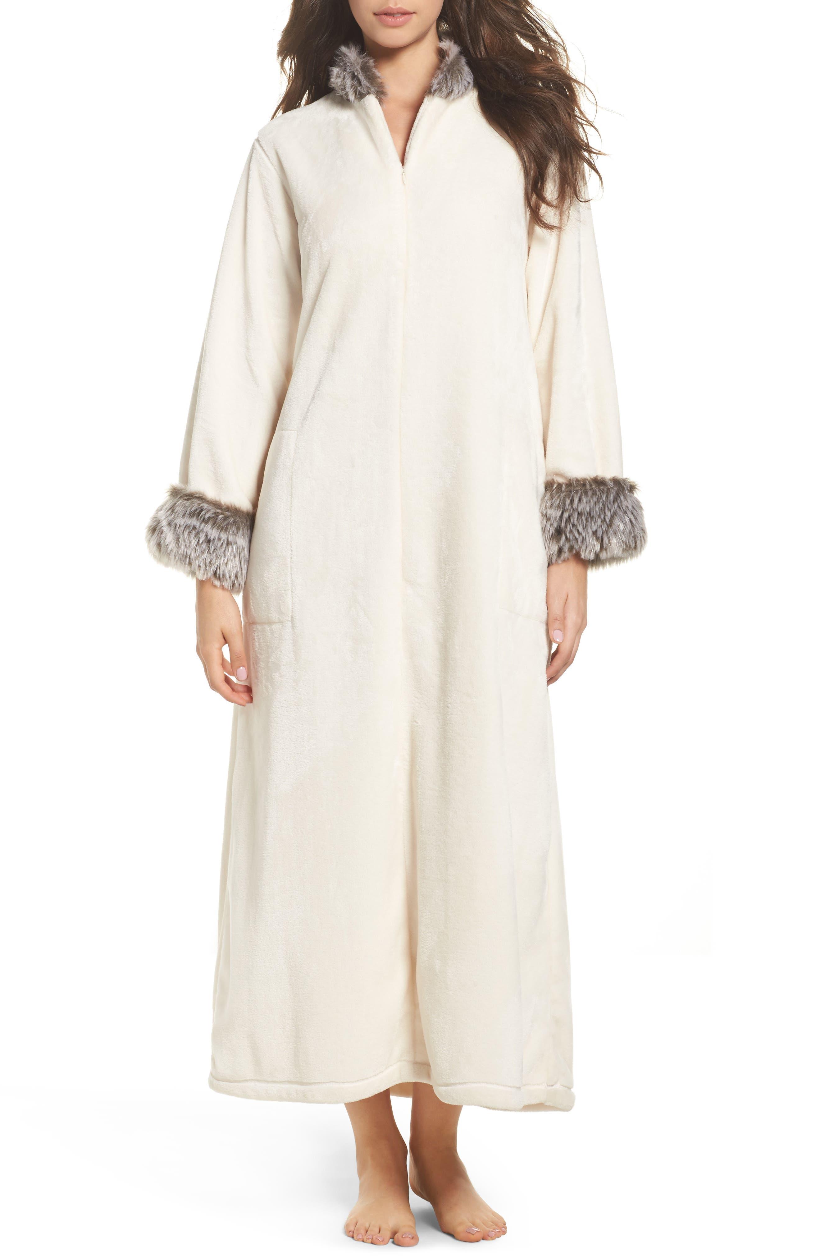 Main Image - Natori Fleece & Faux Fur Caftan
