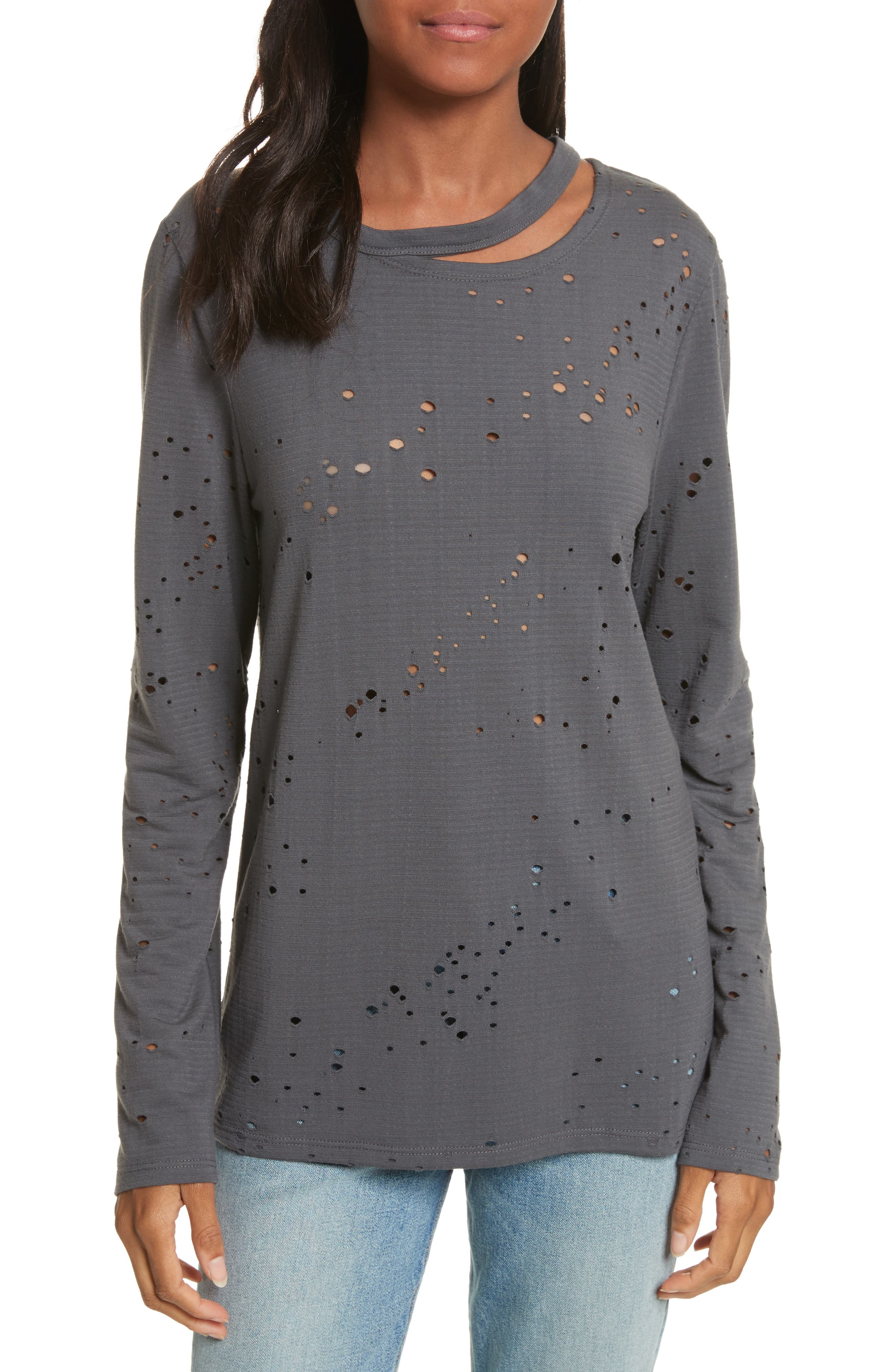 Waverly Perforated Tee,                         Main,                         color, Pewter