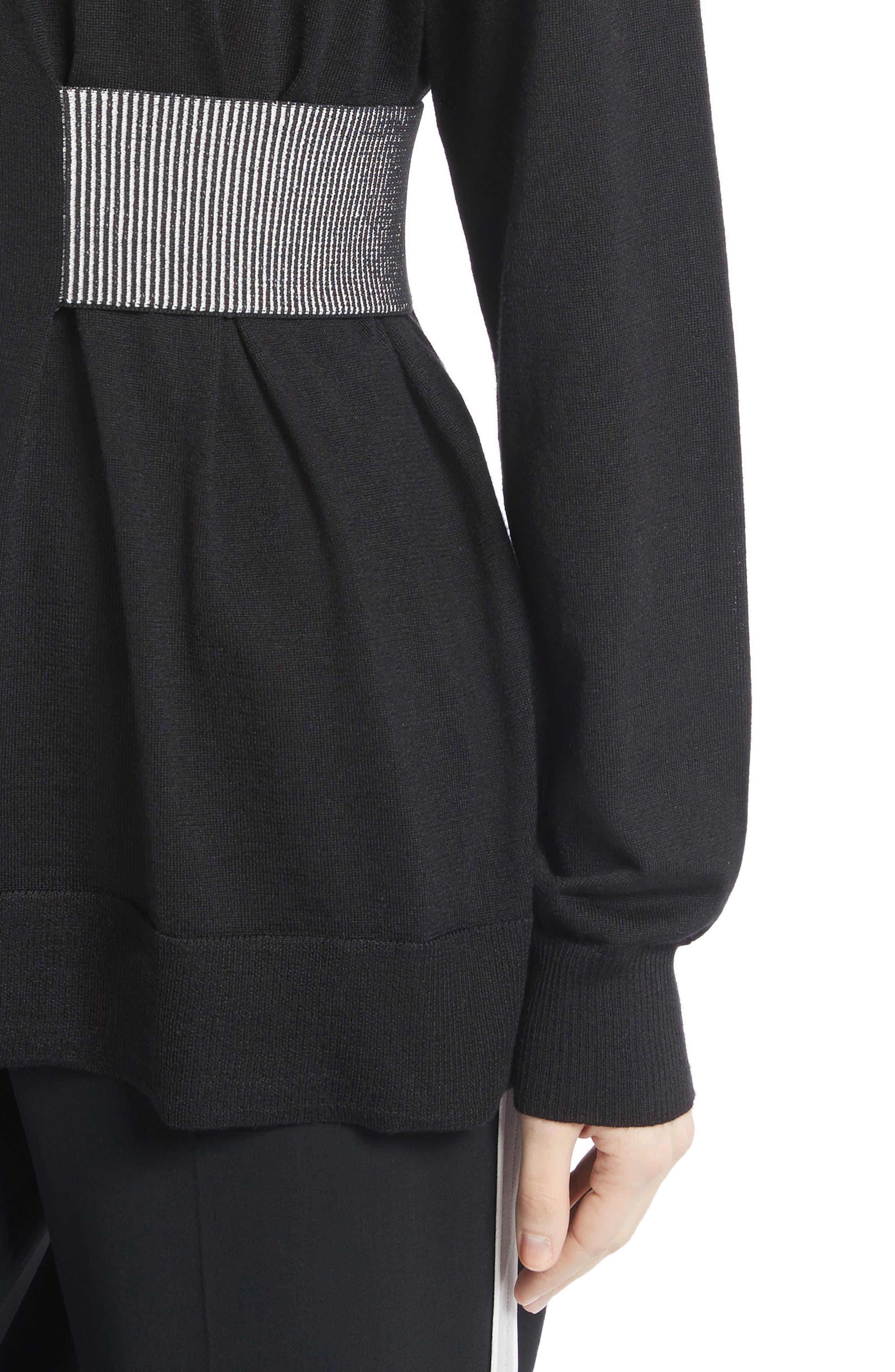 Clinch Detail Sweater,                             Alternate thumbnail 4, color,                             Black