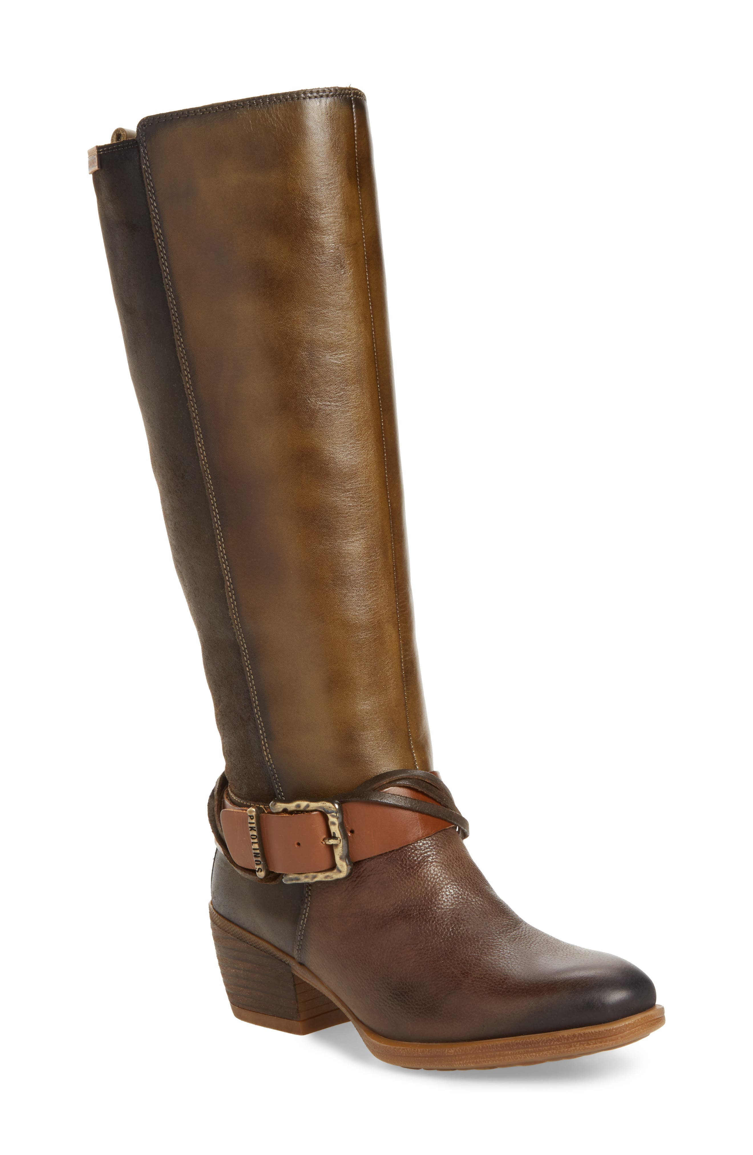 Baqueira Water Resistant Tall Boot,                             Main thumbnail 1, color,                             Seaweed Leather