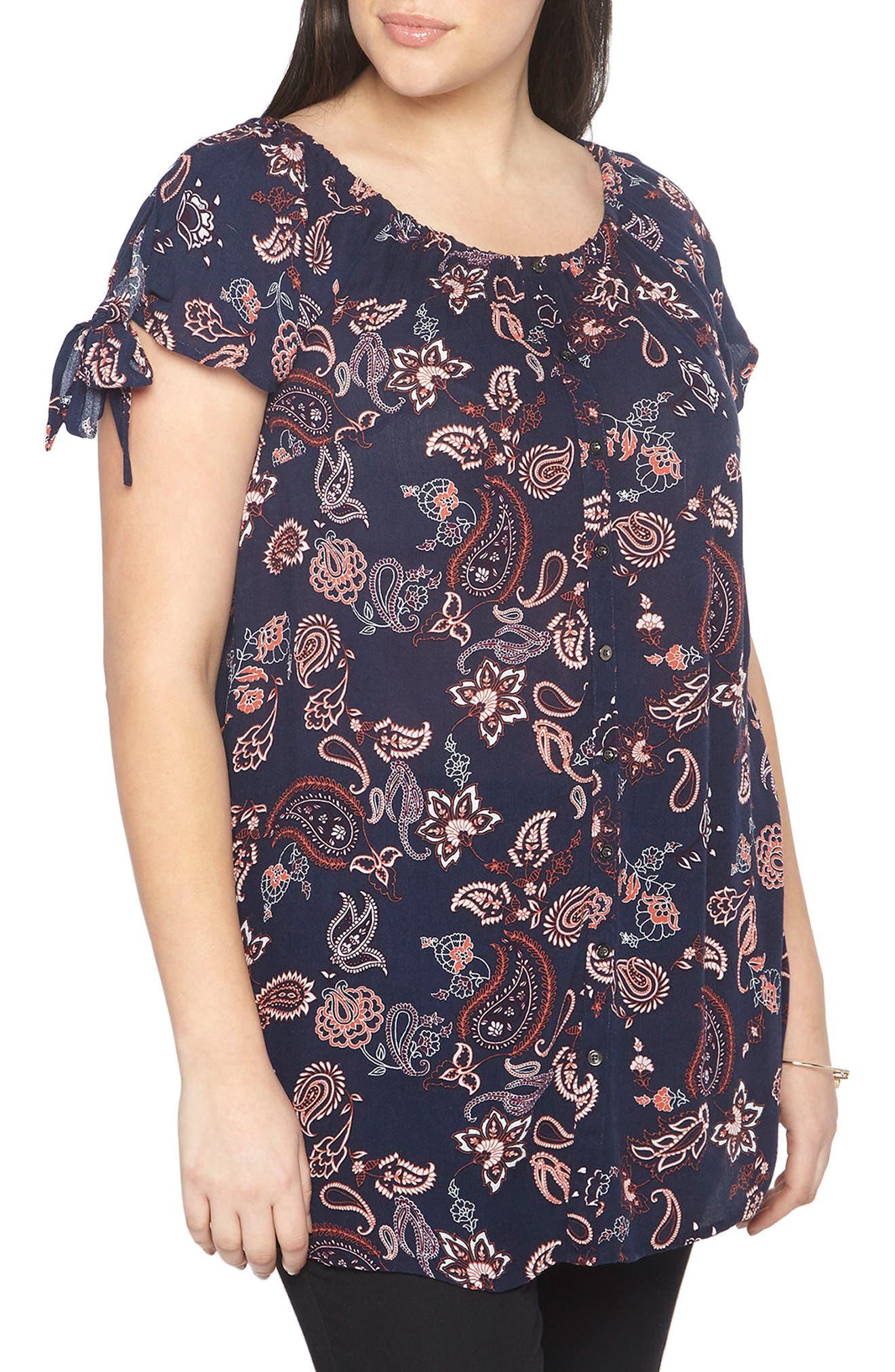 Evans Paisley Floral Tunic (Plus Size)