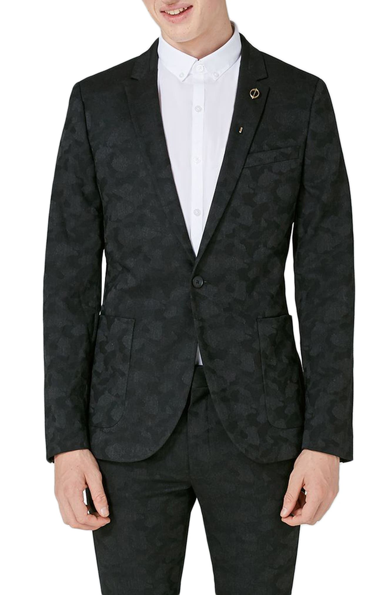 Topman Shadow Camo Ultra Skinny Fit Suit Jacket