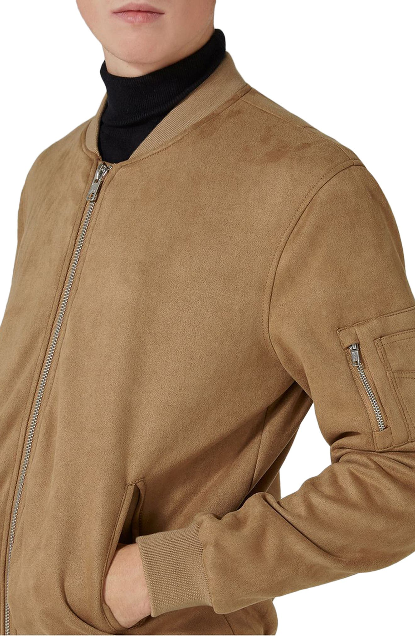 Faux Suede Bomber Jacket,                             Alternate thumbnail 3, color,                             Brown