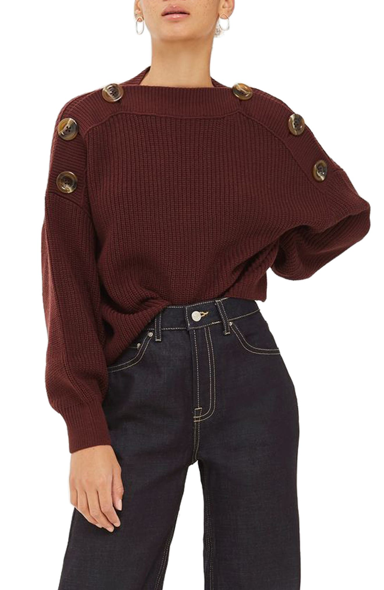 Topshop Button Slash Knit Sweater