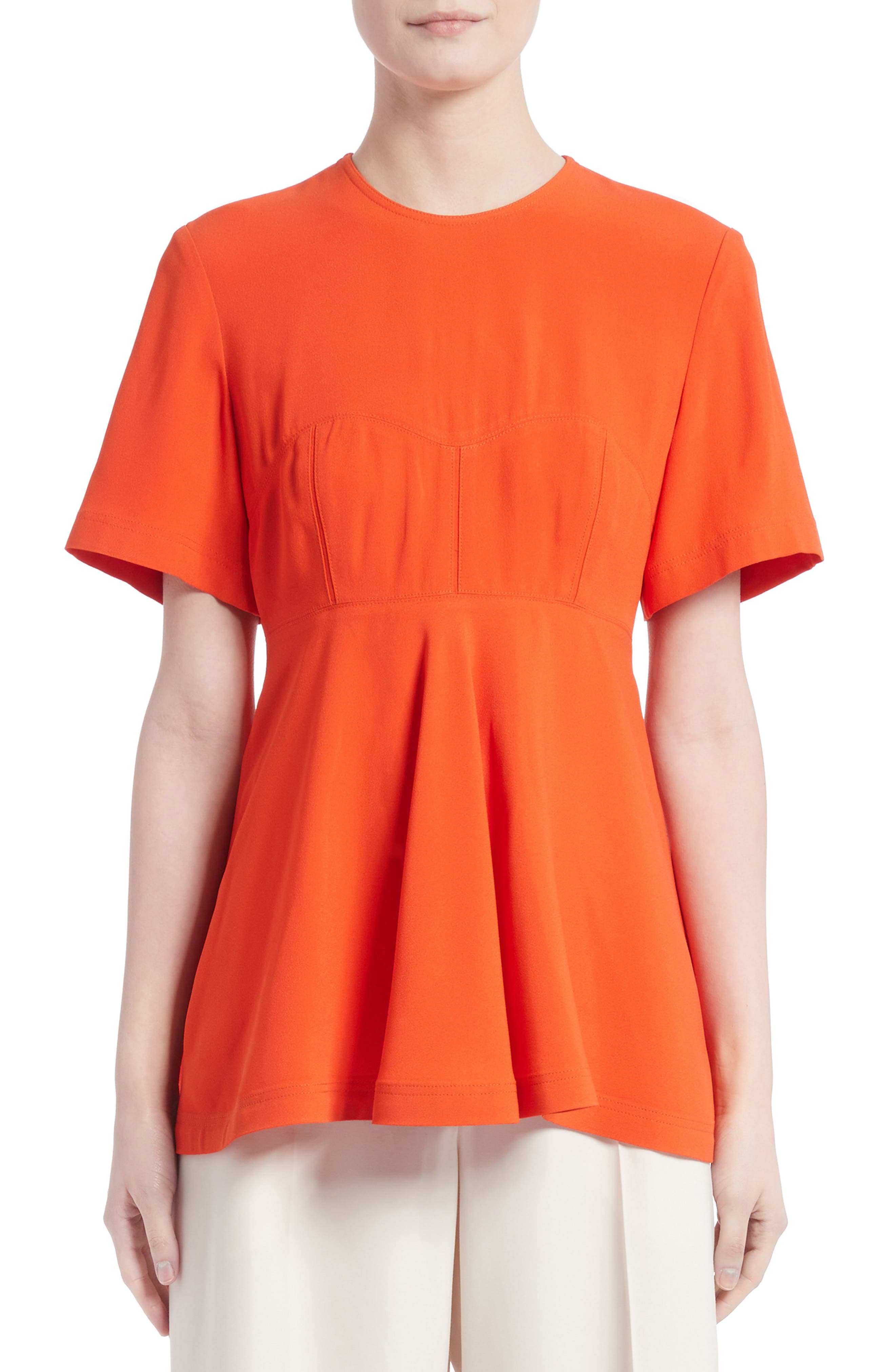 Satin Back Crepe Top,                         Main,                         color, Coral