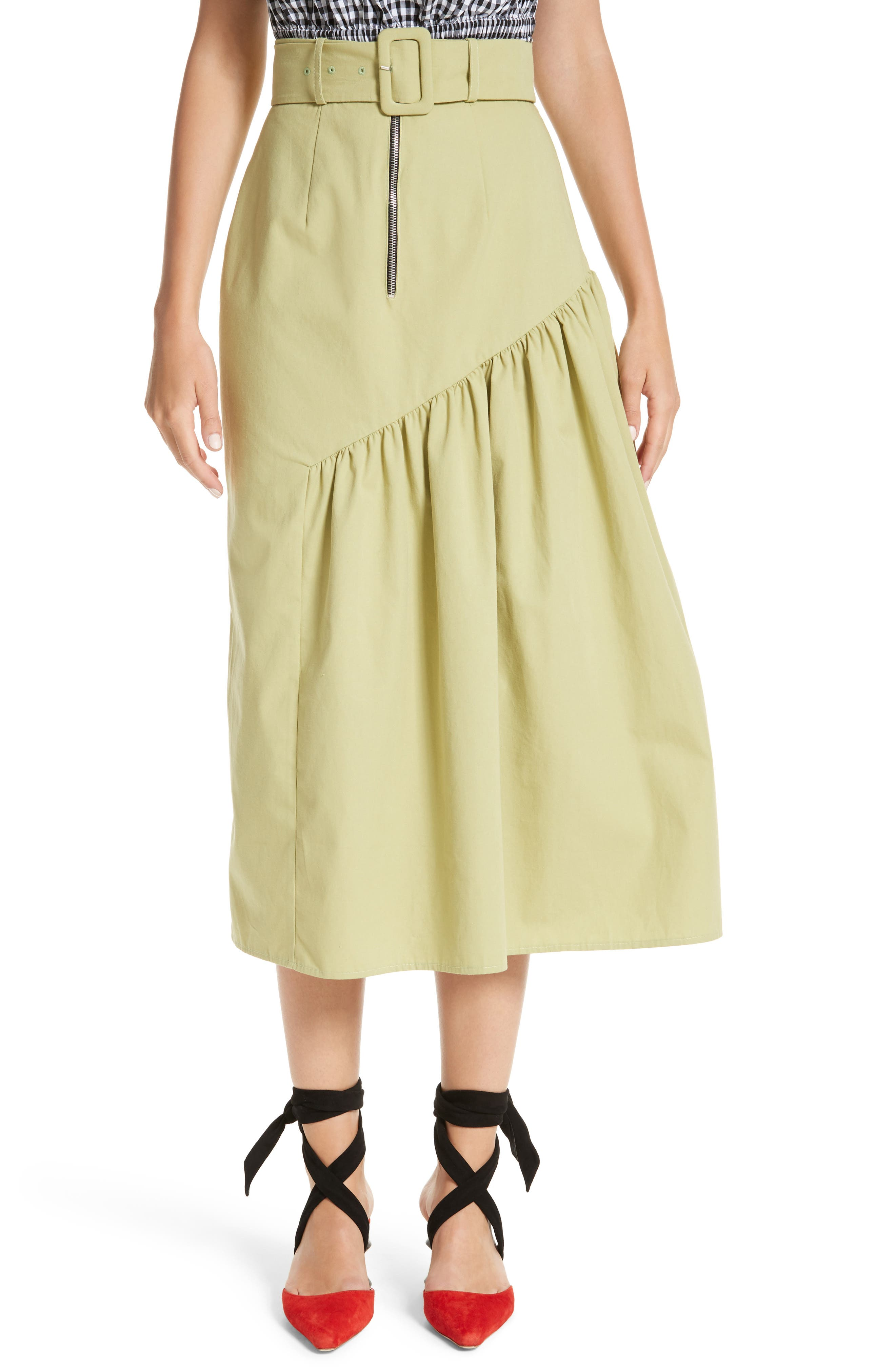 Belted High Waist Ruffle Skirt,                             Main thumbnail 1, color,                             Cotton Sage Green