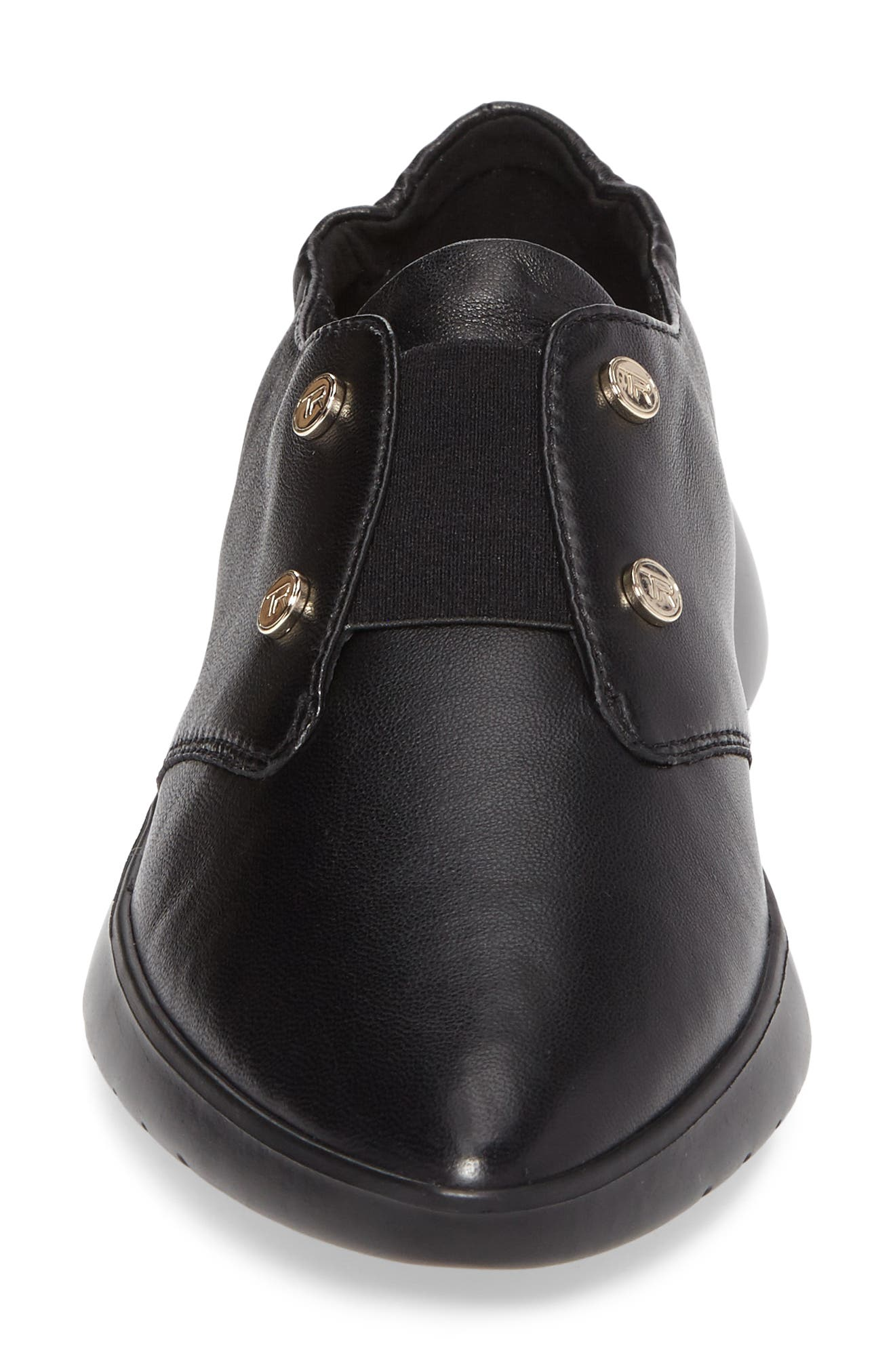 Darcy Slip-On Oxford,                             Alternate thumbnail 4, color,                             Black Leather