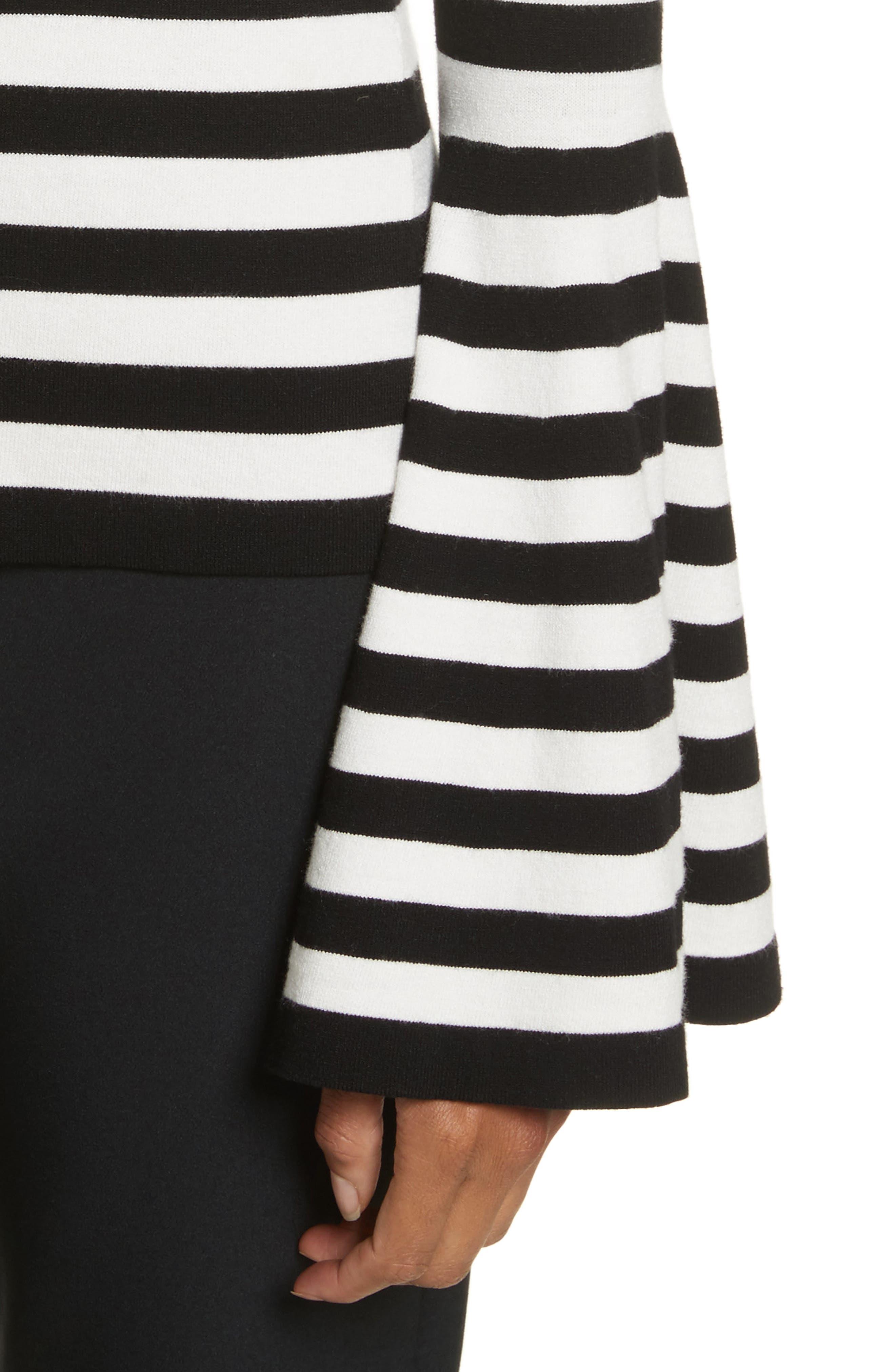Bell Sleeve V-Neck Sweater,                             Alternate thumbnail 5, color,                             Black/ White