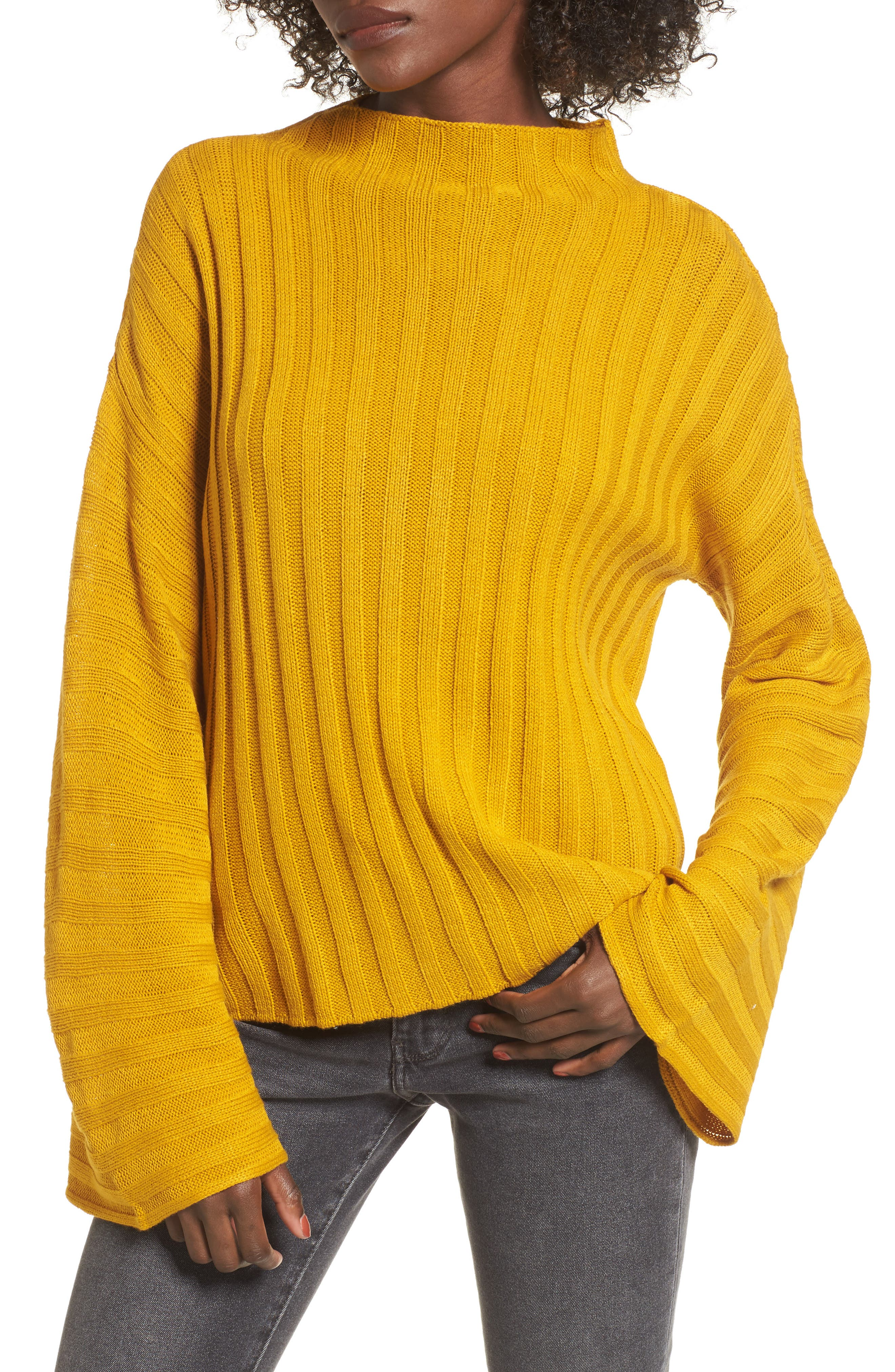 Wide Rib Mock Neck Sweater,                         Main,                         color, Olive Arrowwood