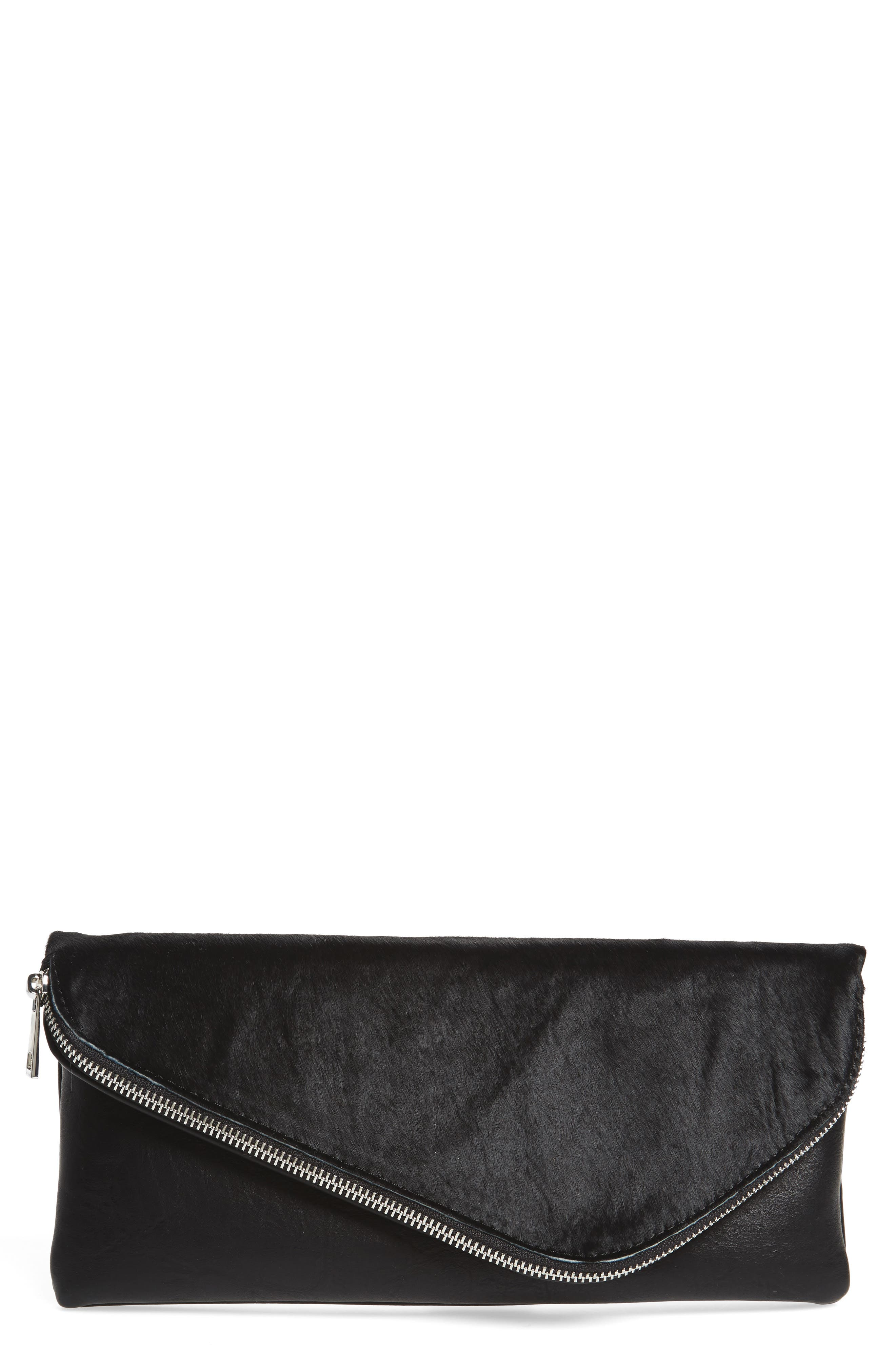 Tammi Genuine Calf Hair & Faux Leather Foldover Clutch,                         Main,                         color, Black