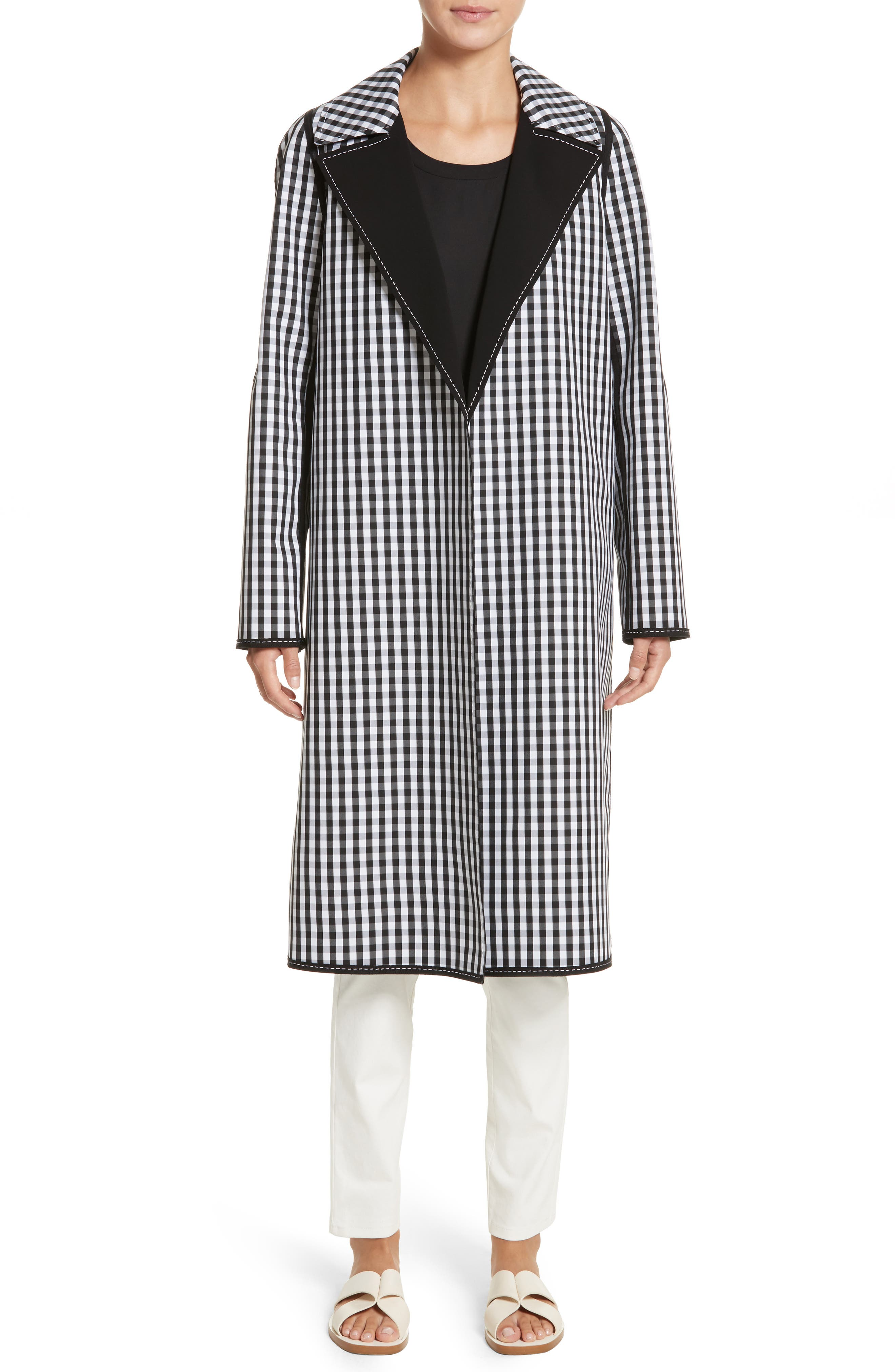 Dina Reversible Trench Coat,                             Alternate thumbnail 7, color,                             Black Multi