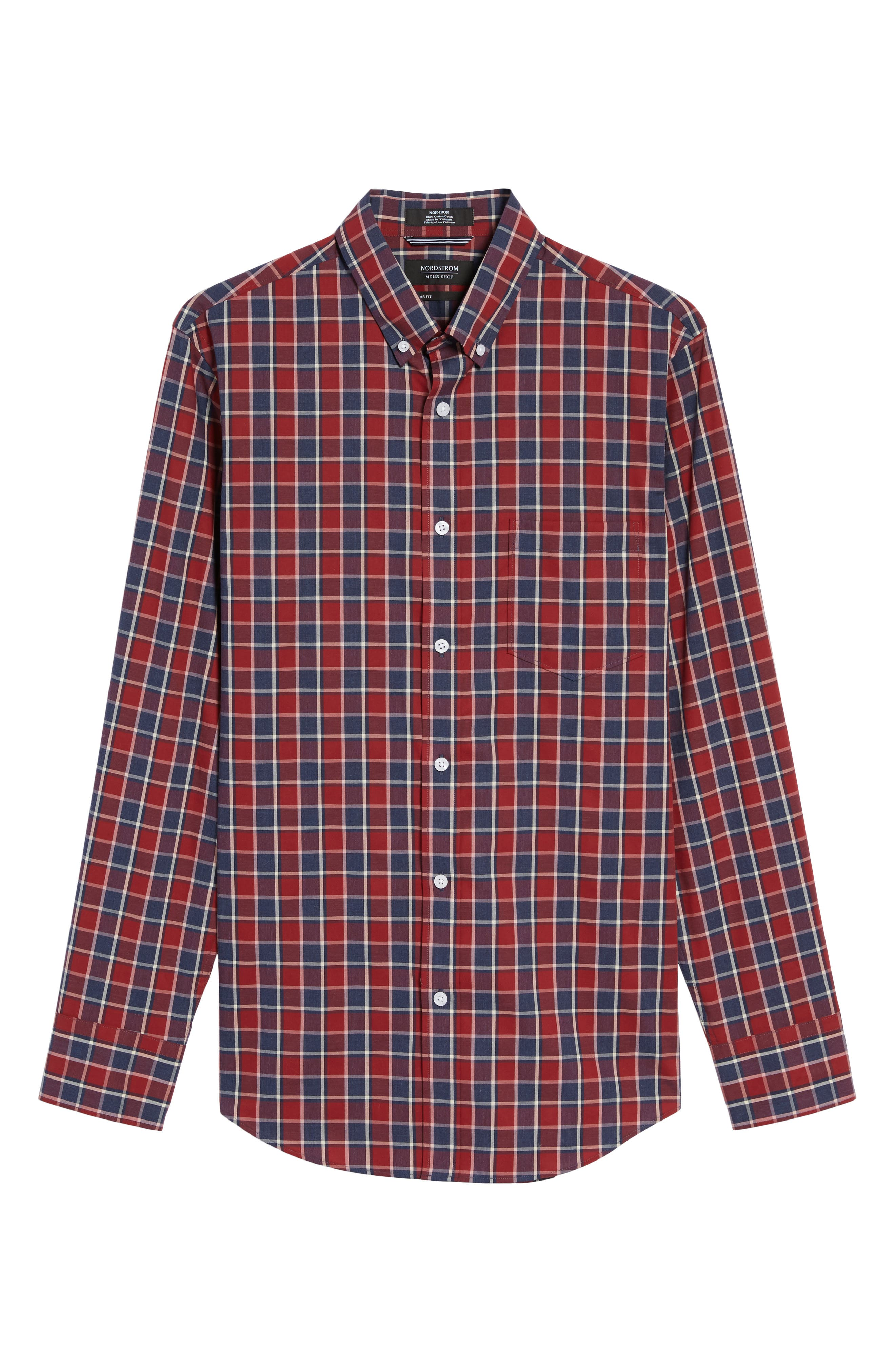 Non-Iron Check Sport Shirt,                             Alternate thumbnail 6, color,                             Red Ruby Heathered Check