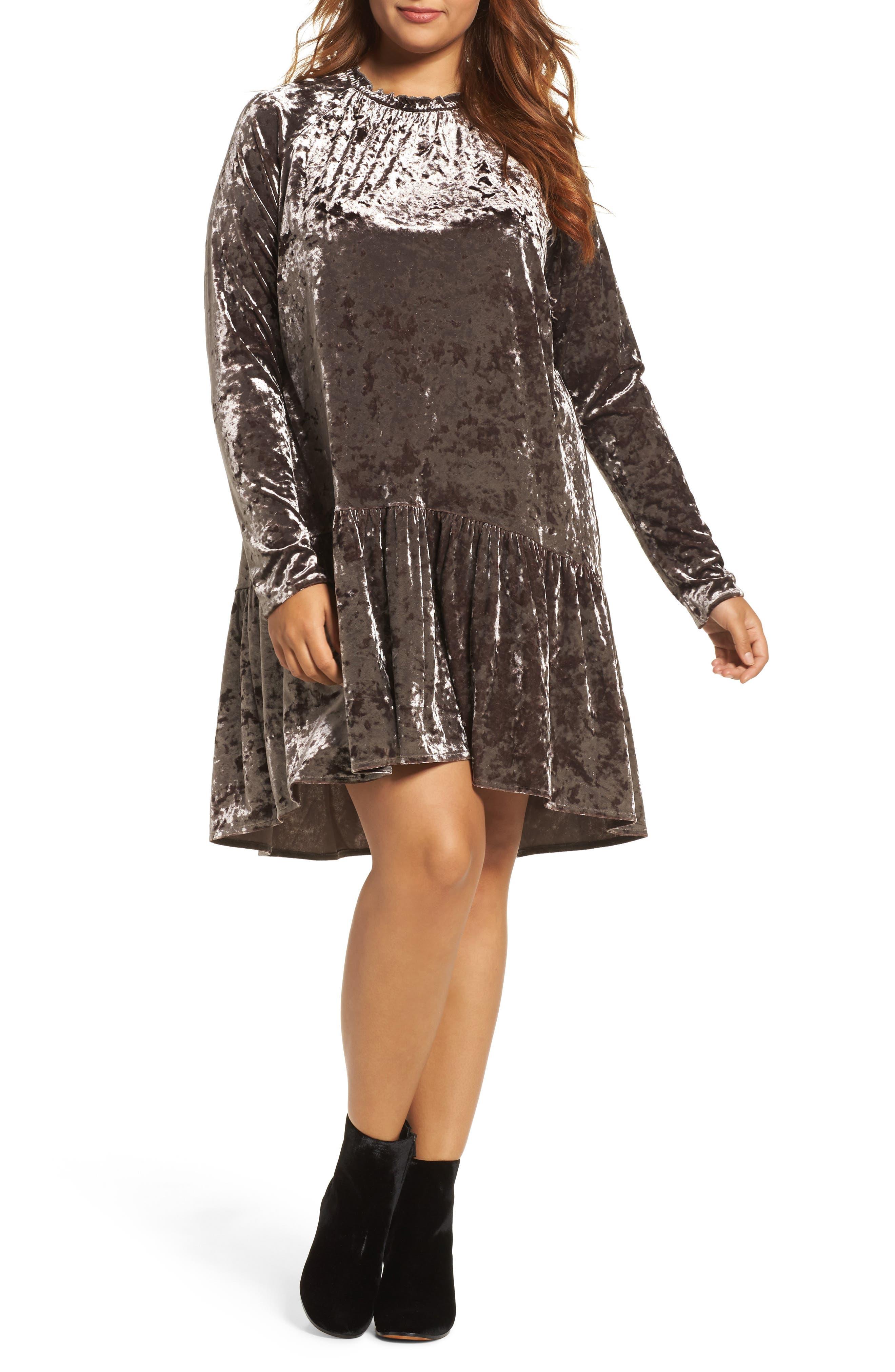 ELVI Drop Waist Crushed Velvet Dress (Plus Size)