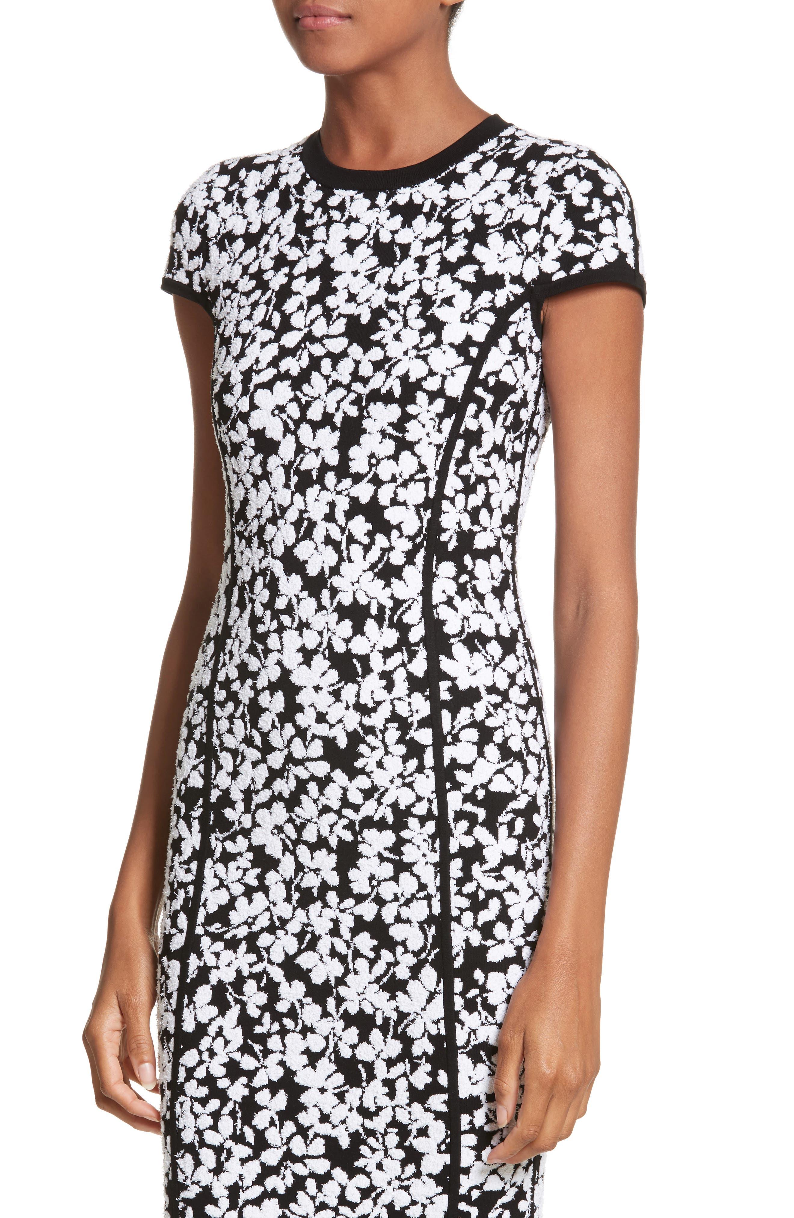 Floral Jacquard Sheath Dress,                             Alternate thumbnail 4, color,                             Black