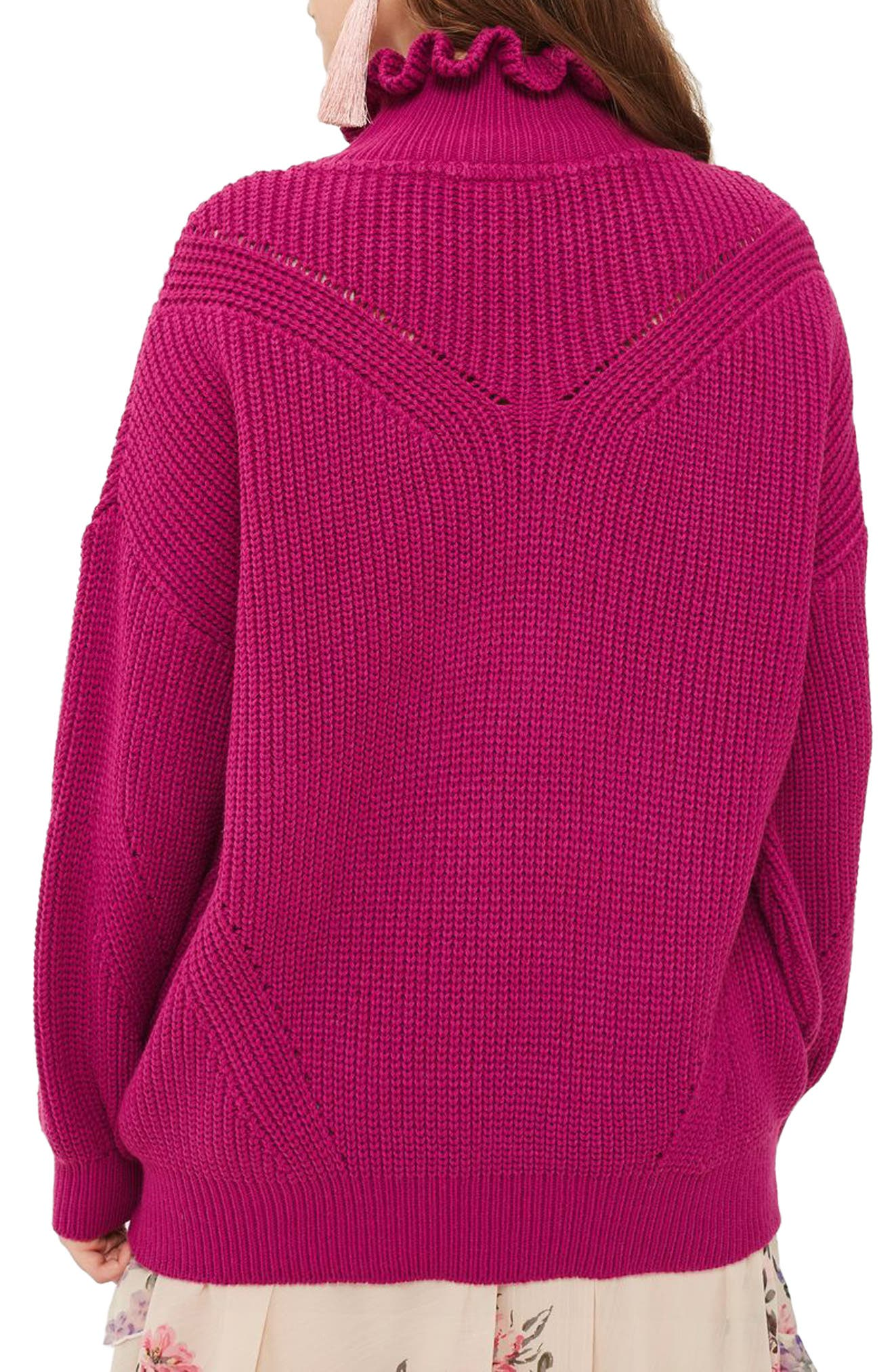 Frill Neck Sweater,                             Alternate thumbnail 3, color,                             Bright Pink