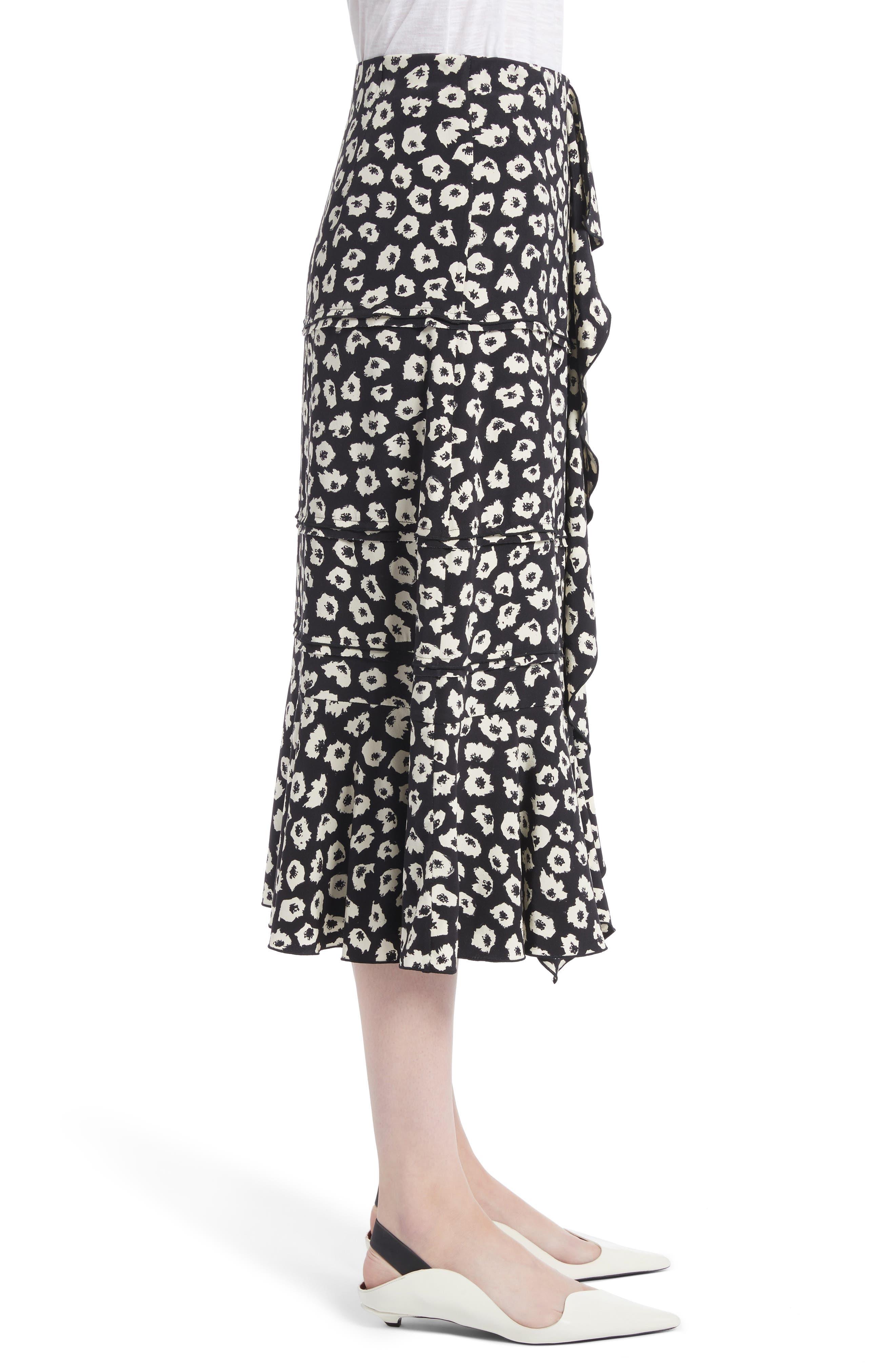 Ruffle Print Silk Midi Skirt,                             Alternate thumbnail 2, color,                             Black/ Off White Jasmine