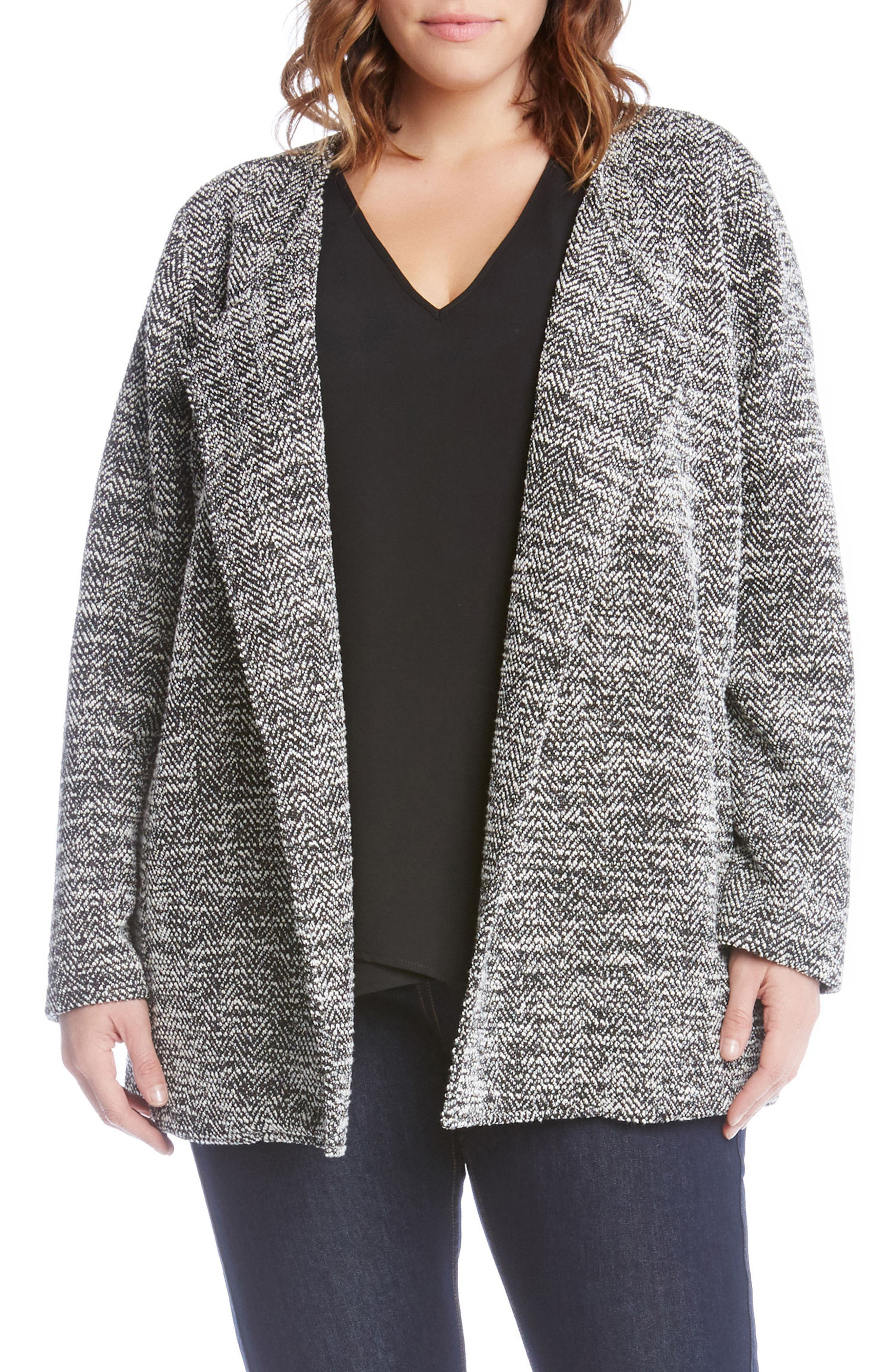 Lightweight Tweed Knit Jacket,                             Main thumbnail 1, color,                             Black