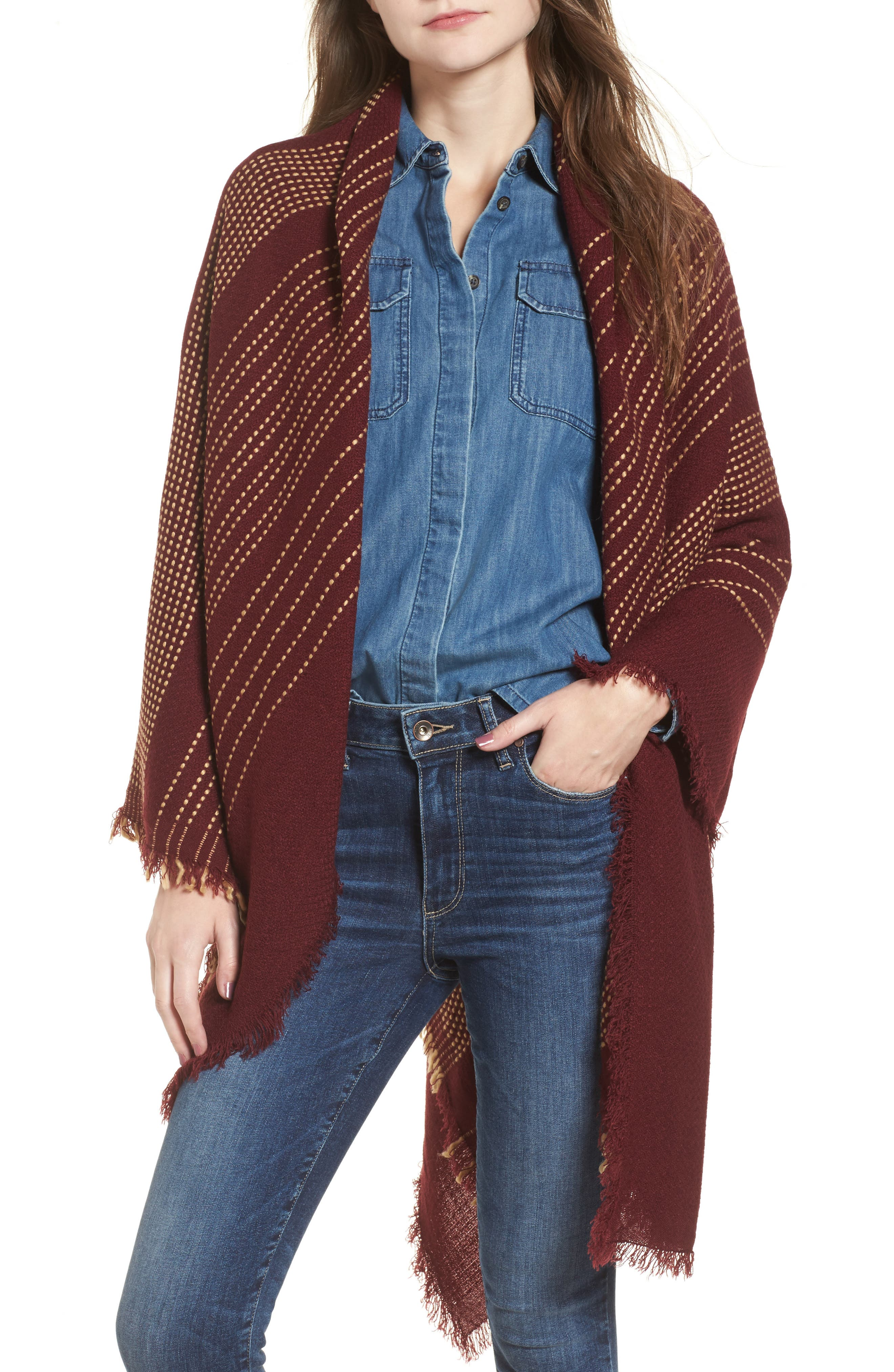 Textured Stripe Blanket Scarf,                             Main thumbnail 1, color,                             Wine