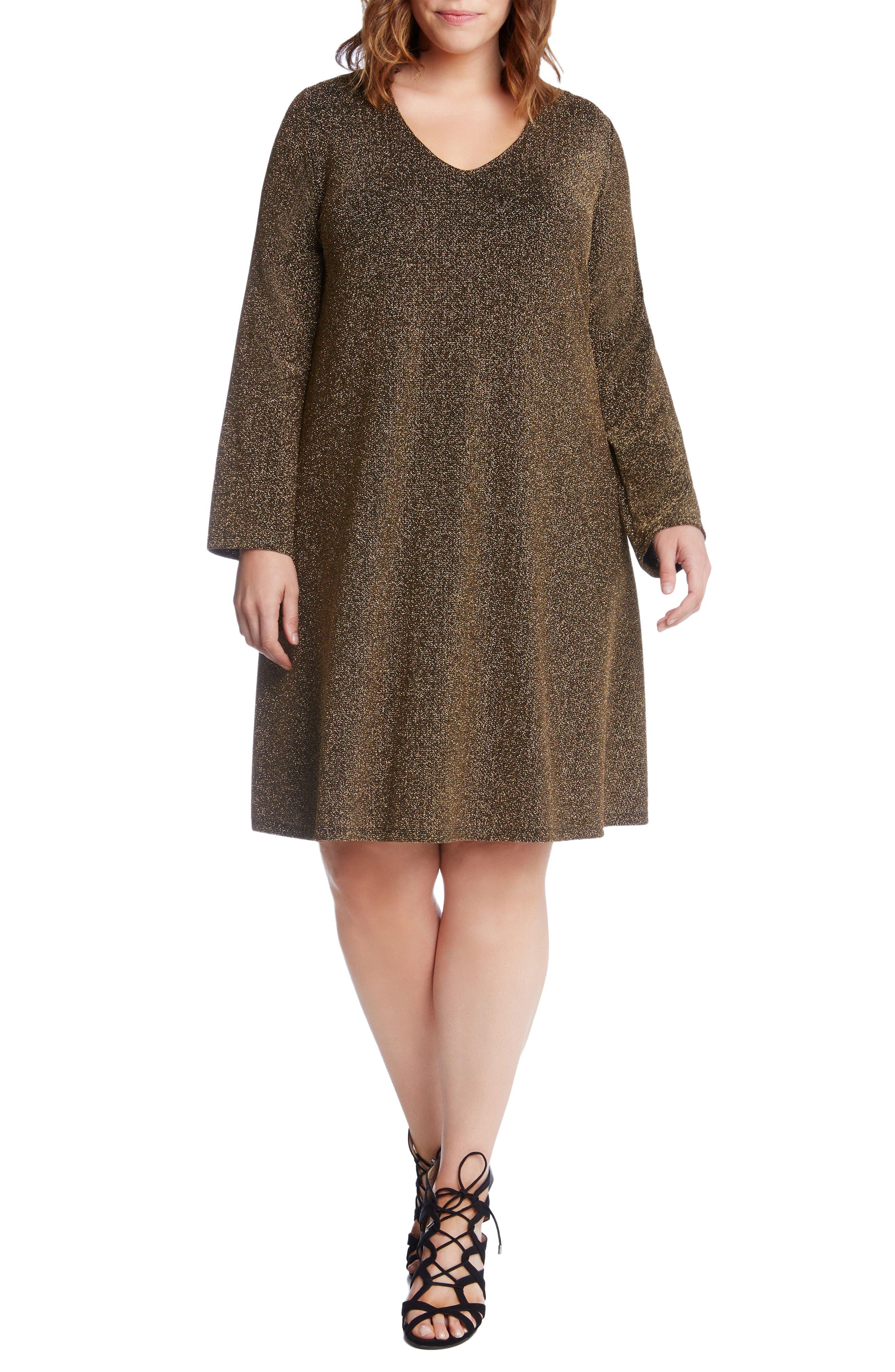 Main Image - Karen Kane Taylor Gold Knit Dress (Plus Size)