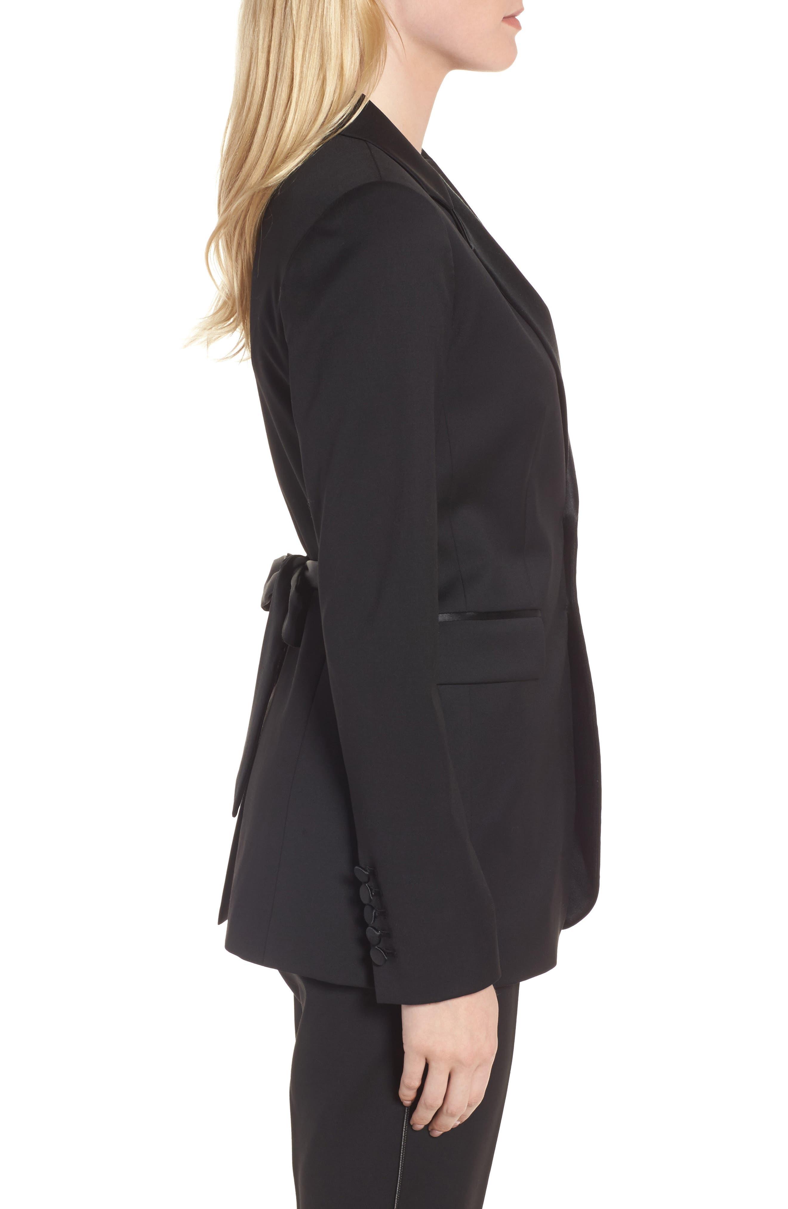 Tuxedo Detail Wool Suit Jacket,                             Alternate thumbnail 4, color,                             Black