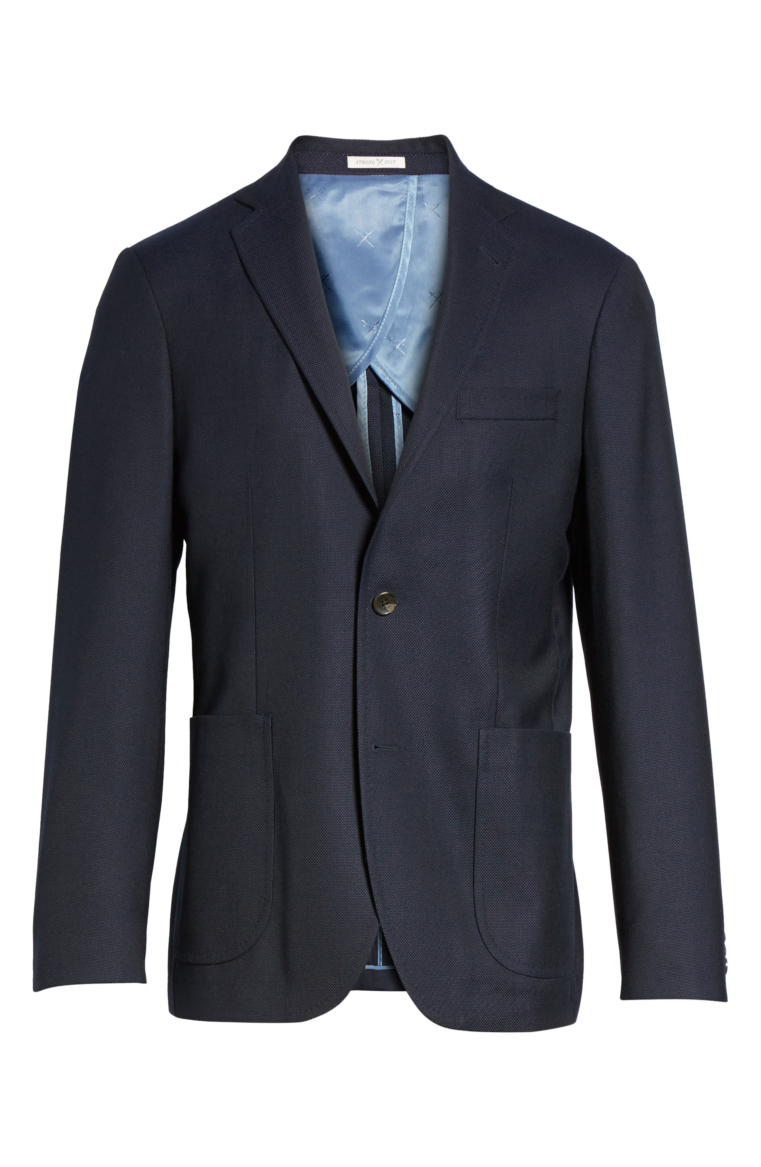 Vantage Trim Fit Wool Blazer,                             Alternate thumbnail 6, color,                             Navy Hopsack