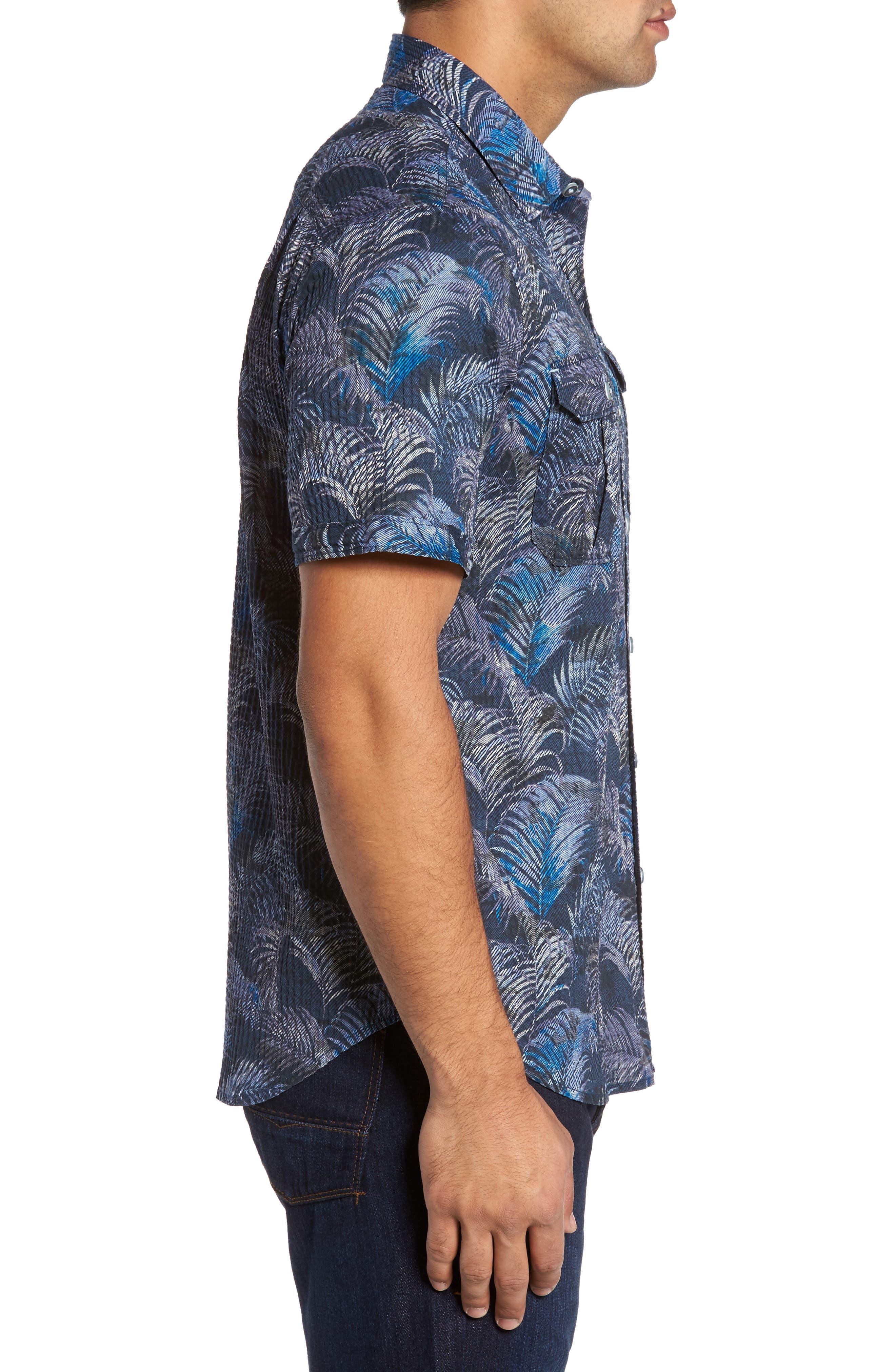Fez Fronds Regular Fit Sport Shirt Shirt,                             Alternate thumbnail 3, color,                             Maritime