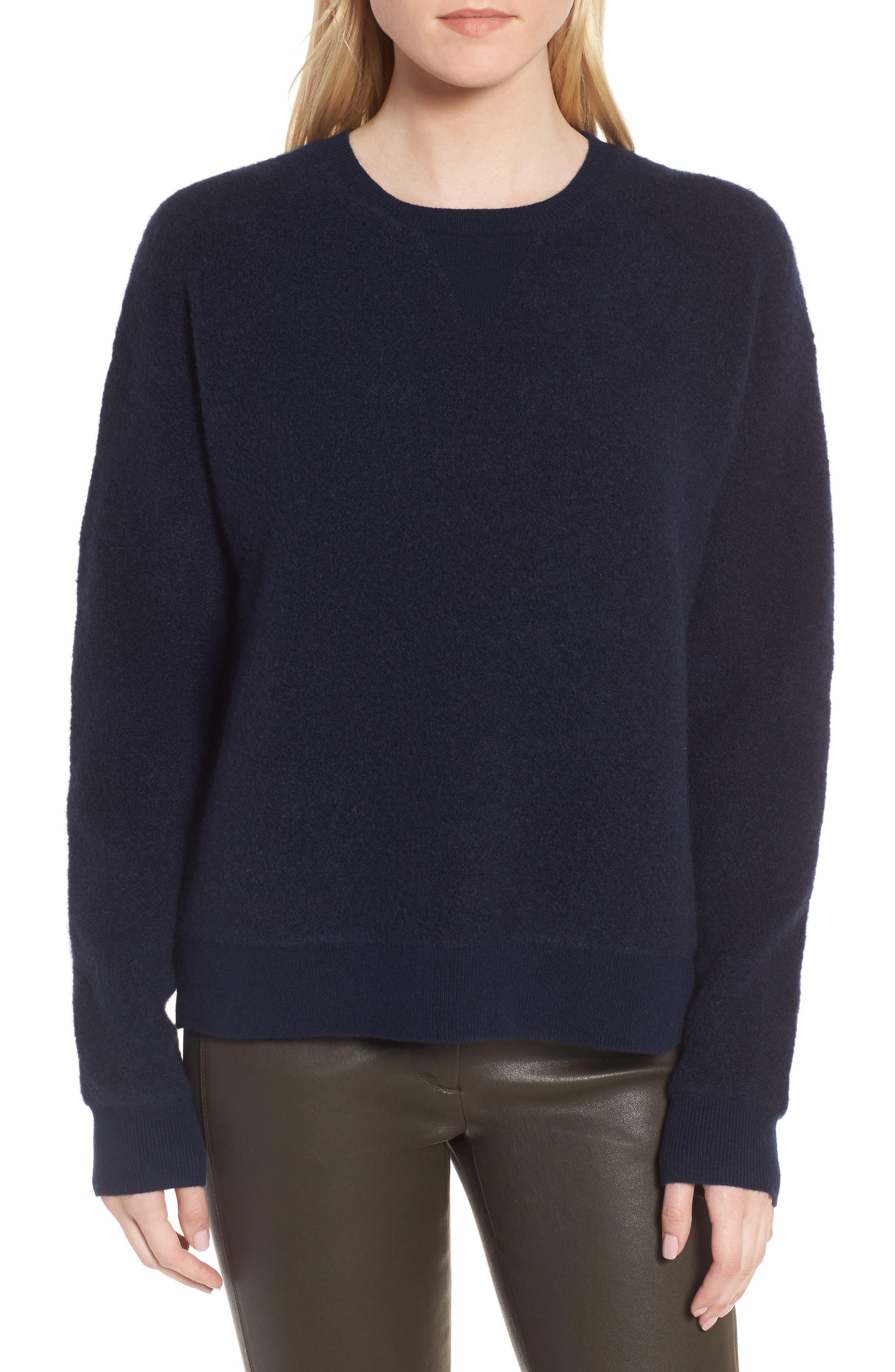 Cashmere Blend Bouclé Sweater,                             Main thumbnail 1, color,                             Navy Medieval