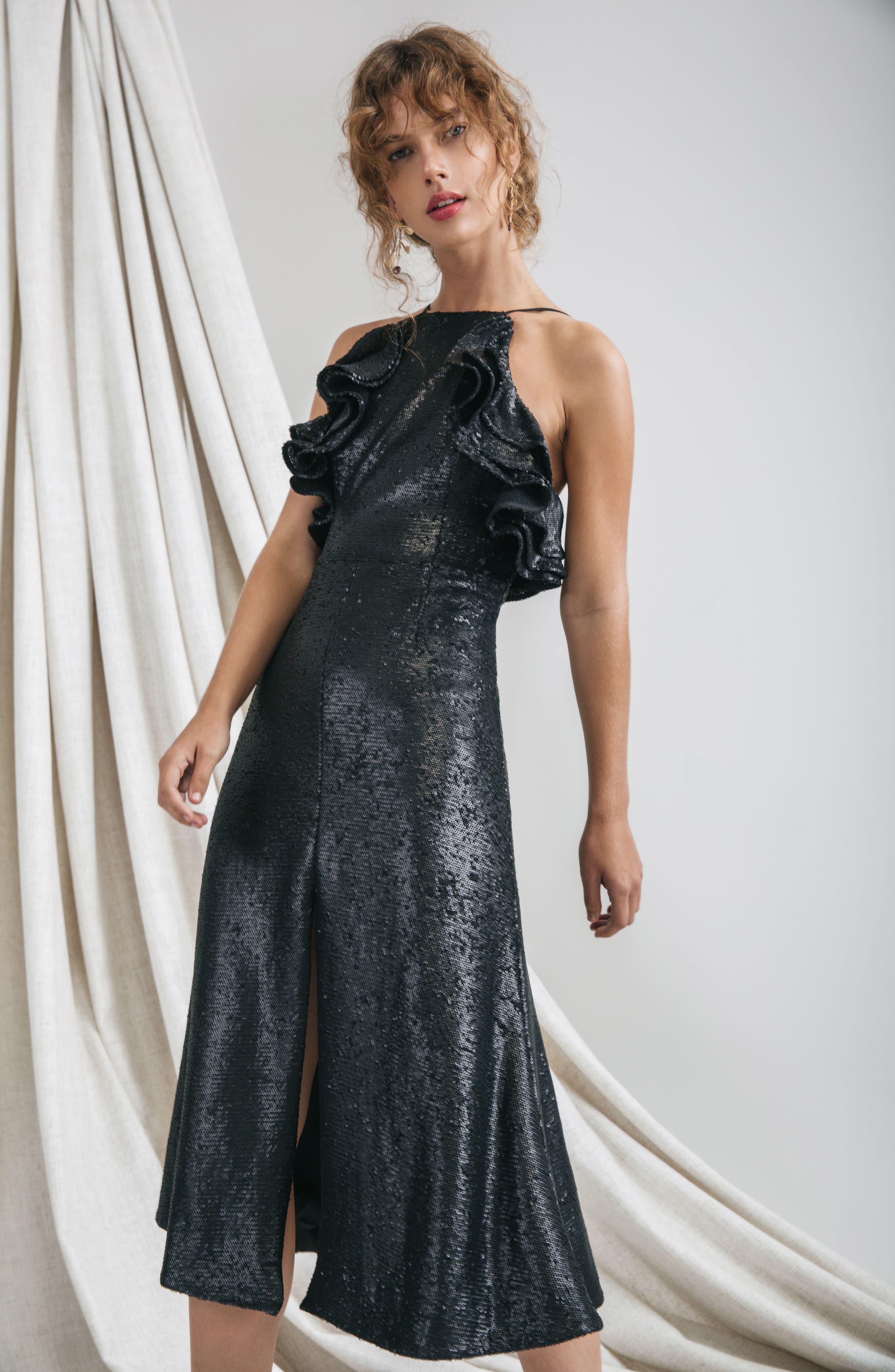 Alternate Image 2  - C/MEO Collective Illuminated Sequin Ruffle Midi Dress (Nordstrom Exclusive)