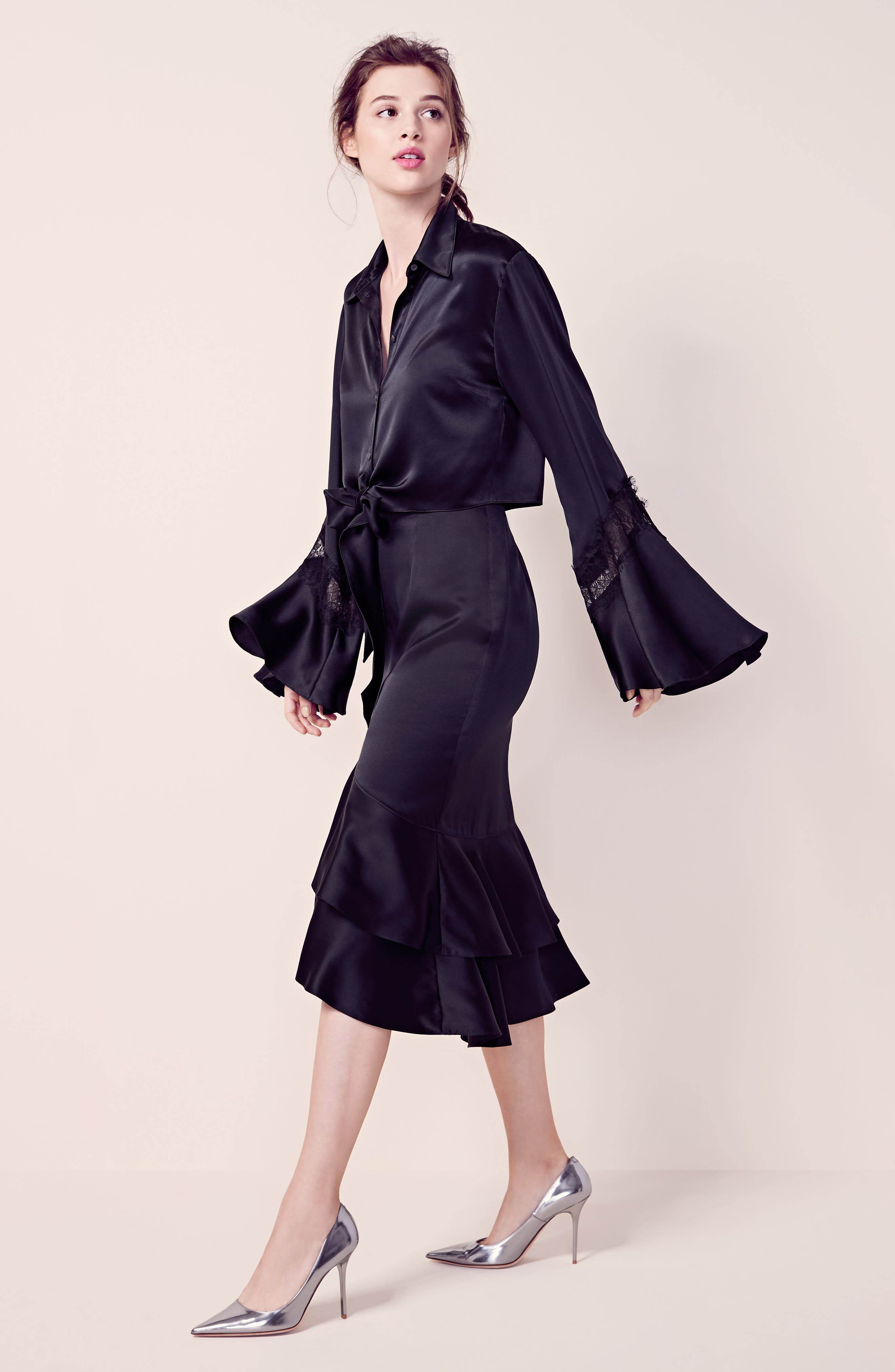 Alternate Image 2  - Cinq à Sept Genevieve Lace Inset Silk Satin Top