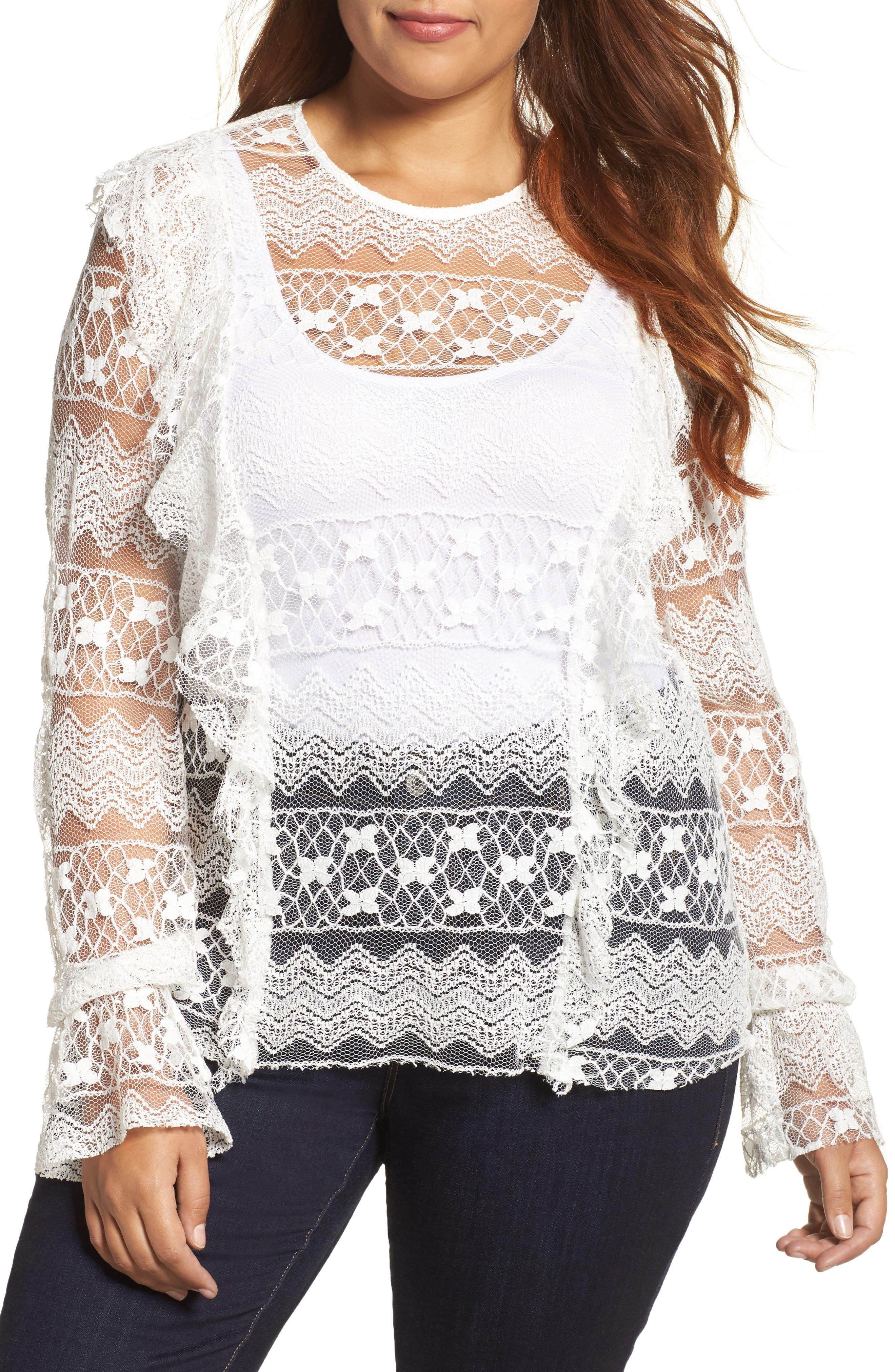 Lace Top,                         Main,                         color, White