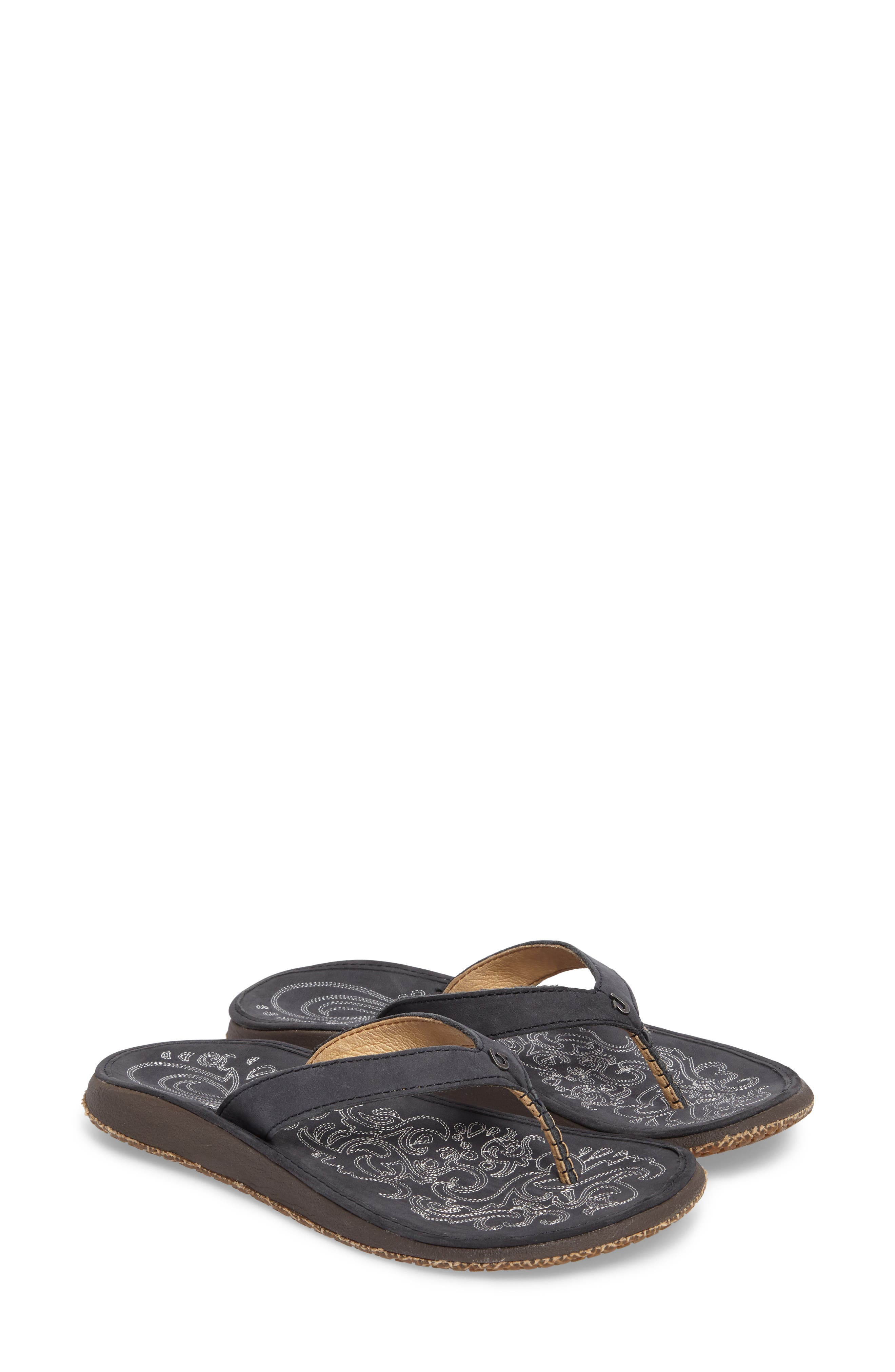 'Paniolo' Thong Sandal,                         Main,                         color, Trench Blue/ Blue Leather