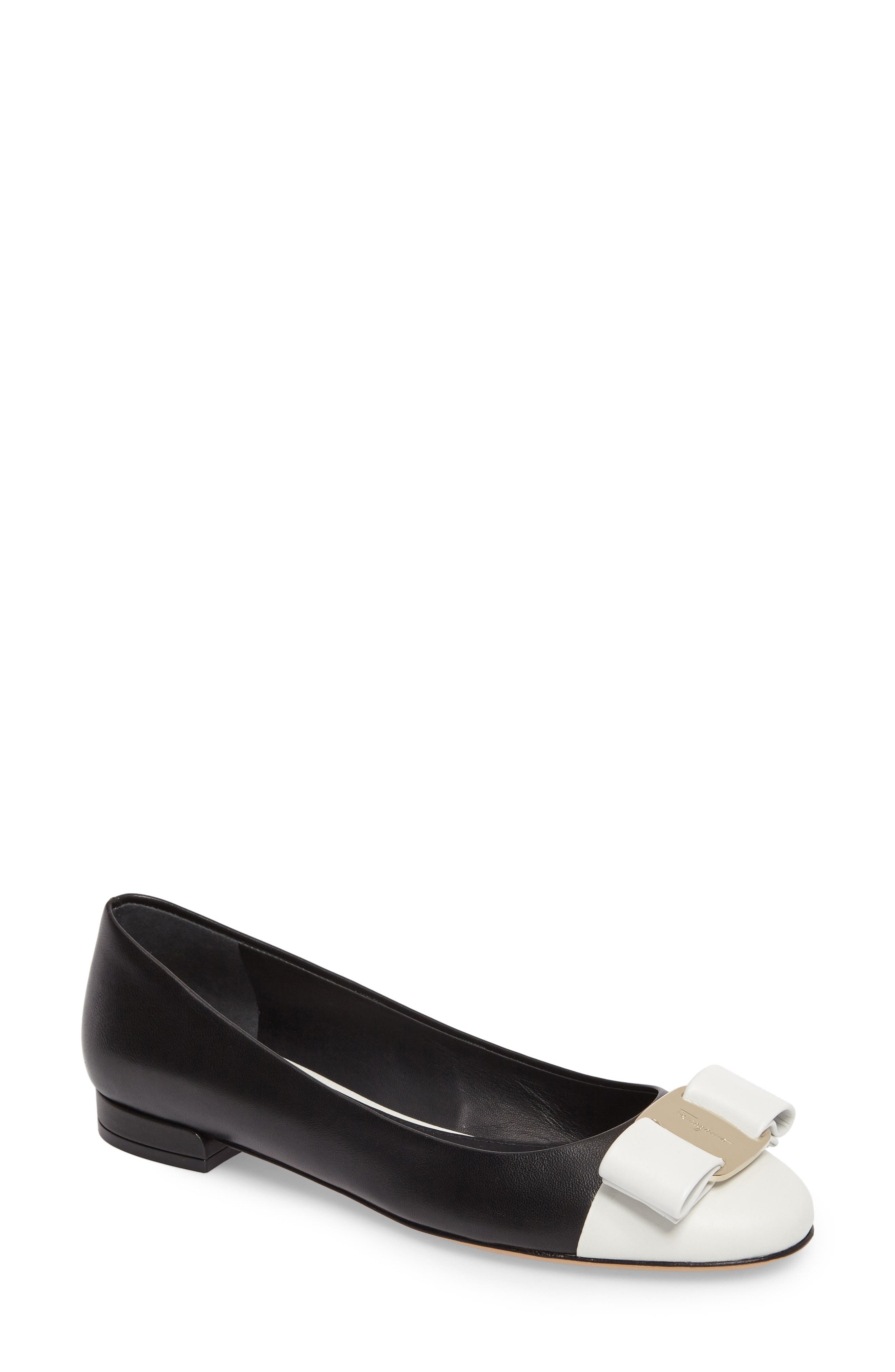 Varina Bow Flat,                         Main,                         color, Black/ White