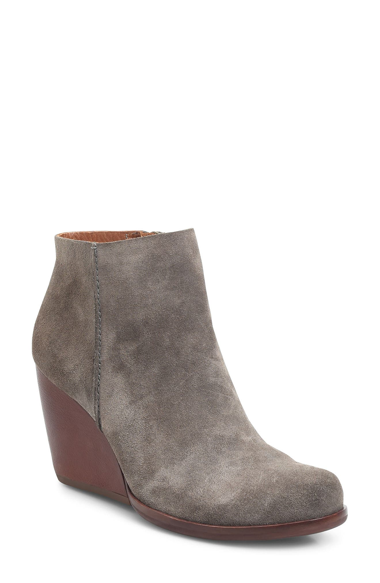 Natalya Wedge Bootie,                         Main,                         color, Grey Suede