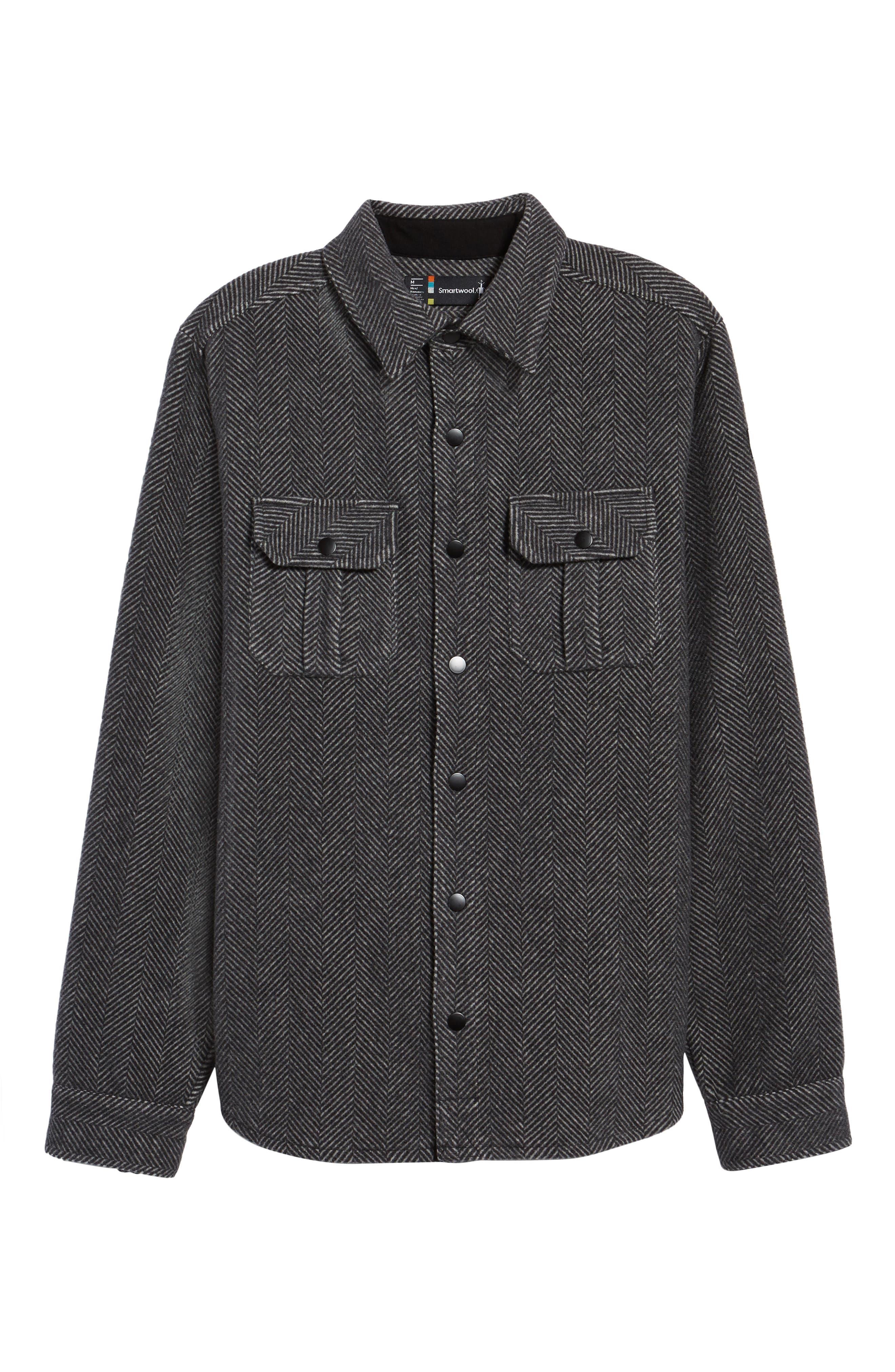 Anchor Line Herringbone Wool Blend Shirt Jacket,                             Alternate thumbnail 6, color,                             Charcoal Heather
