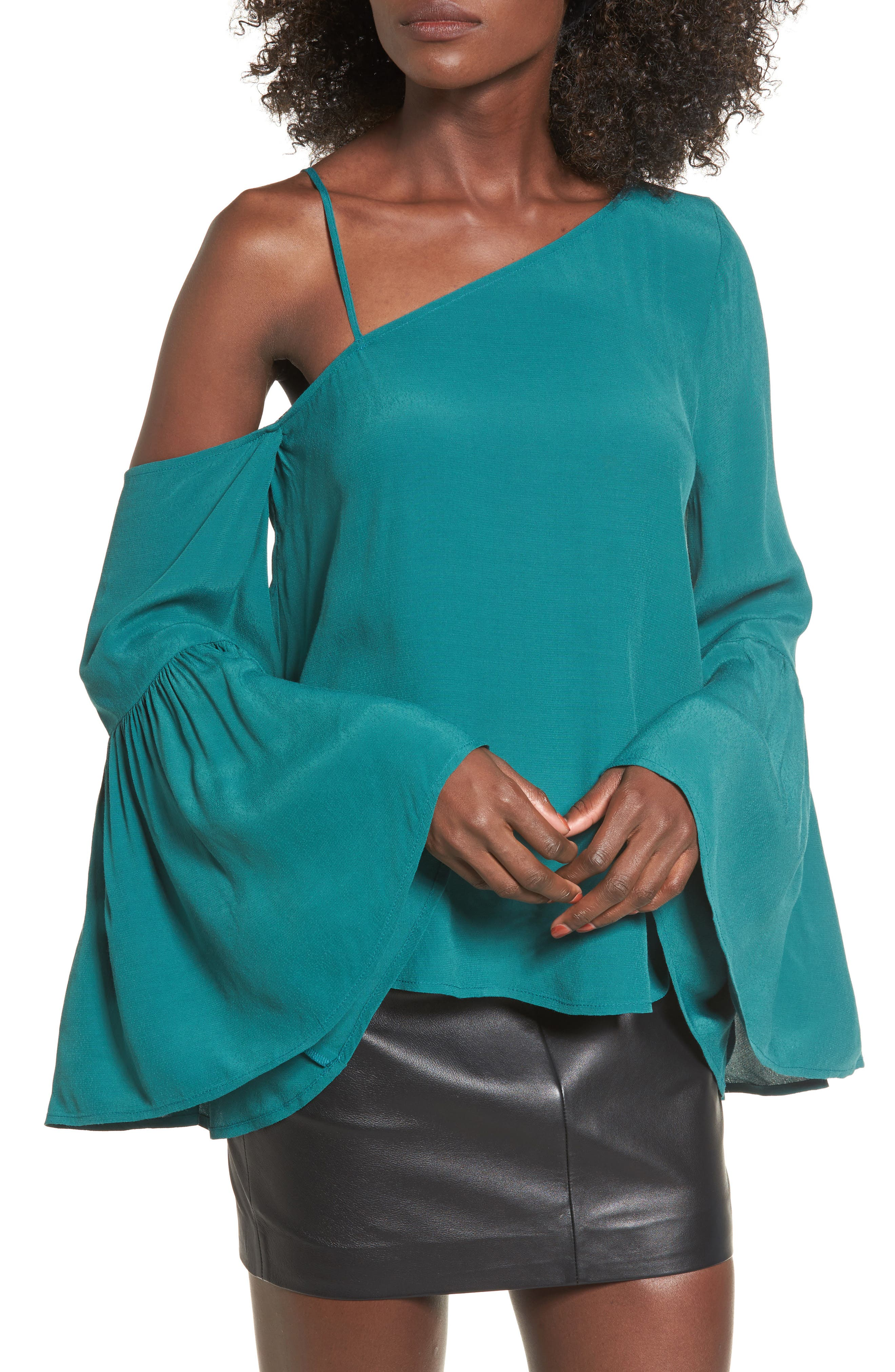 Alternate Image 1 Selected - Leith One-Shoulder Bell Sleeve Top