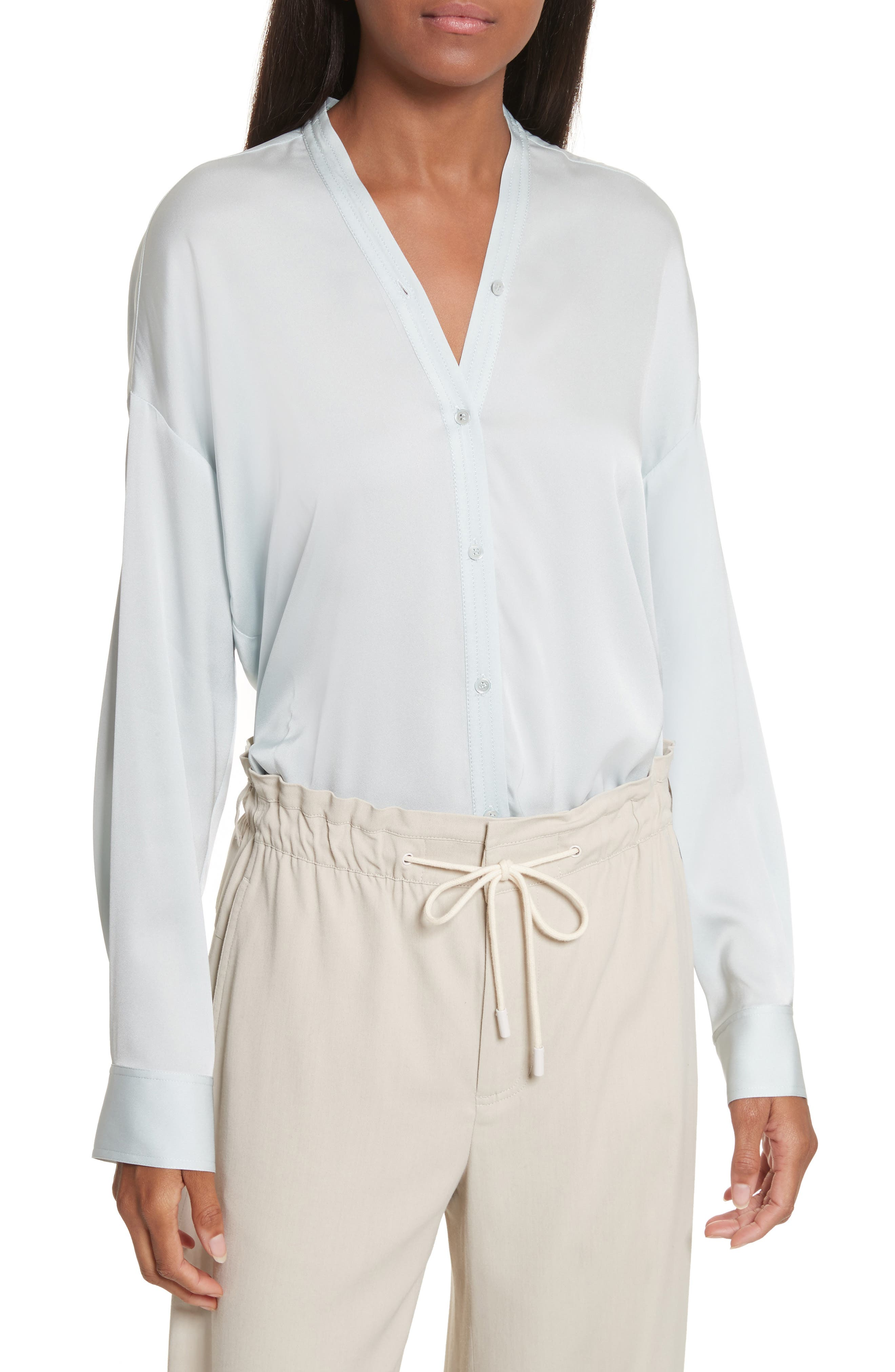 Main Image - Vince Trapunto Stretch Silk Blouse