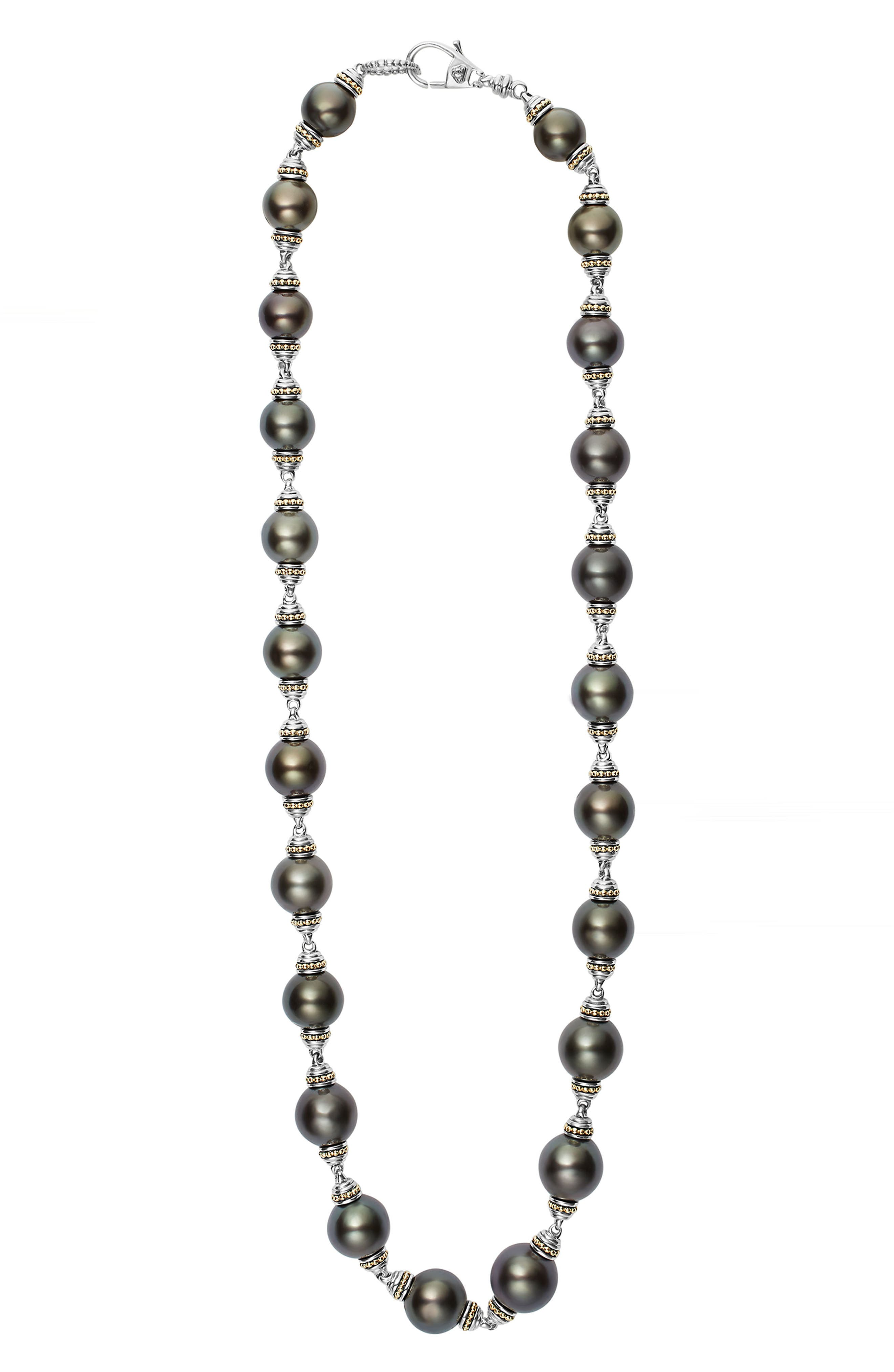 Pearl Station Necklace,                         Main,                         color, Black Pearl