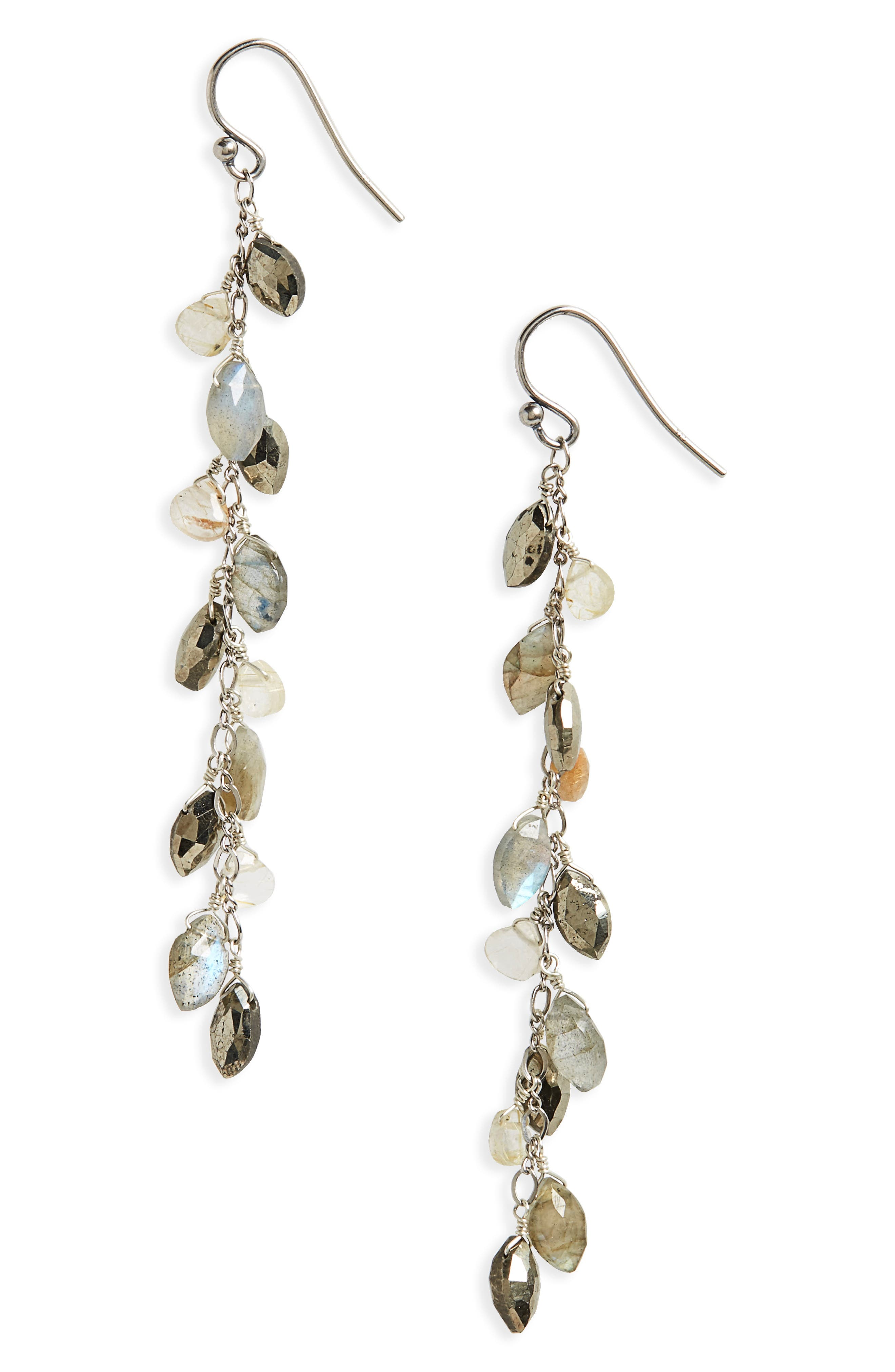 Semiprecious Stone Sterling Silver Drop Earrings,                             Main thumbnail 1, color,                             Pyrite/ Silver