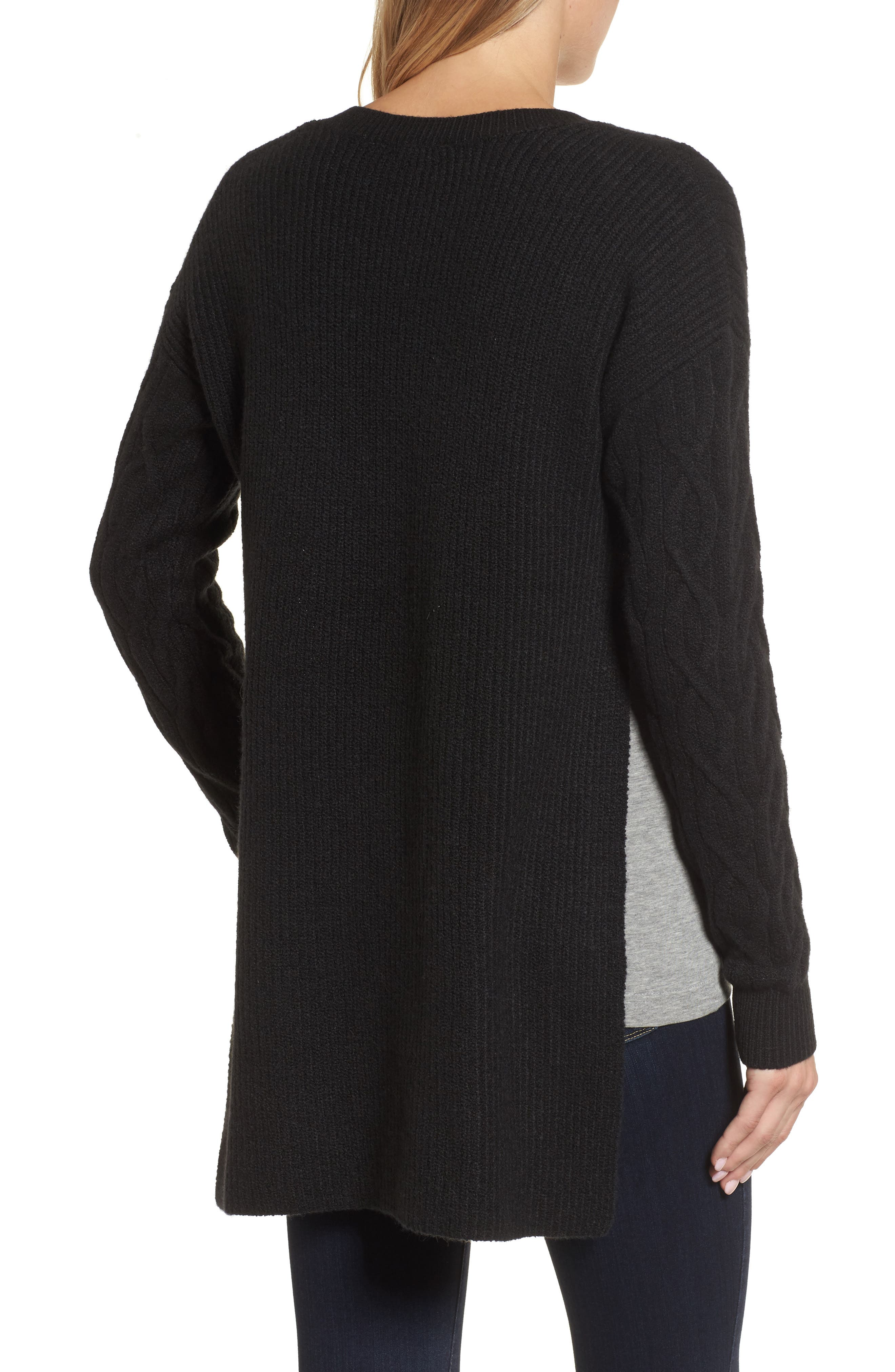 Irregular Cable Knit Sweater,                             Alternate thumbnail 2, color,                             Black